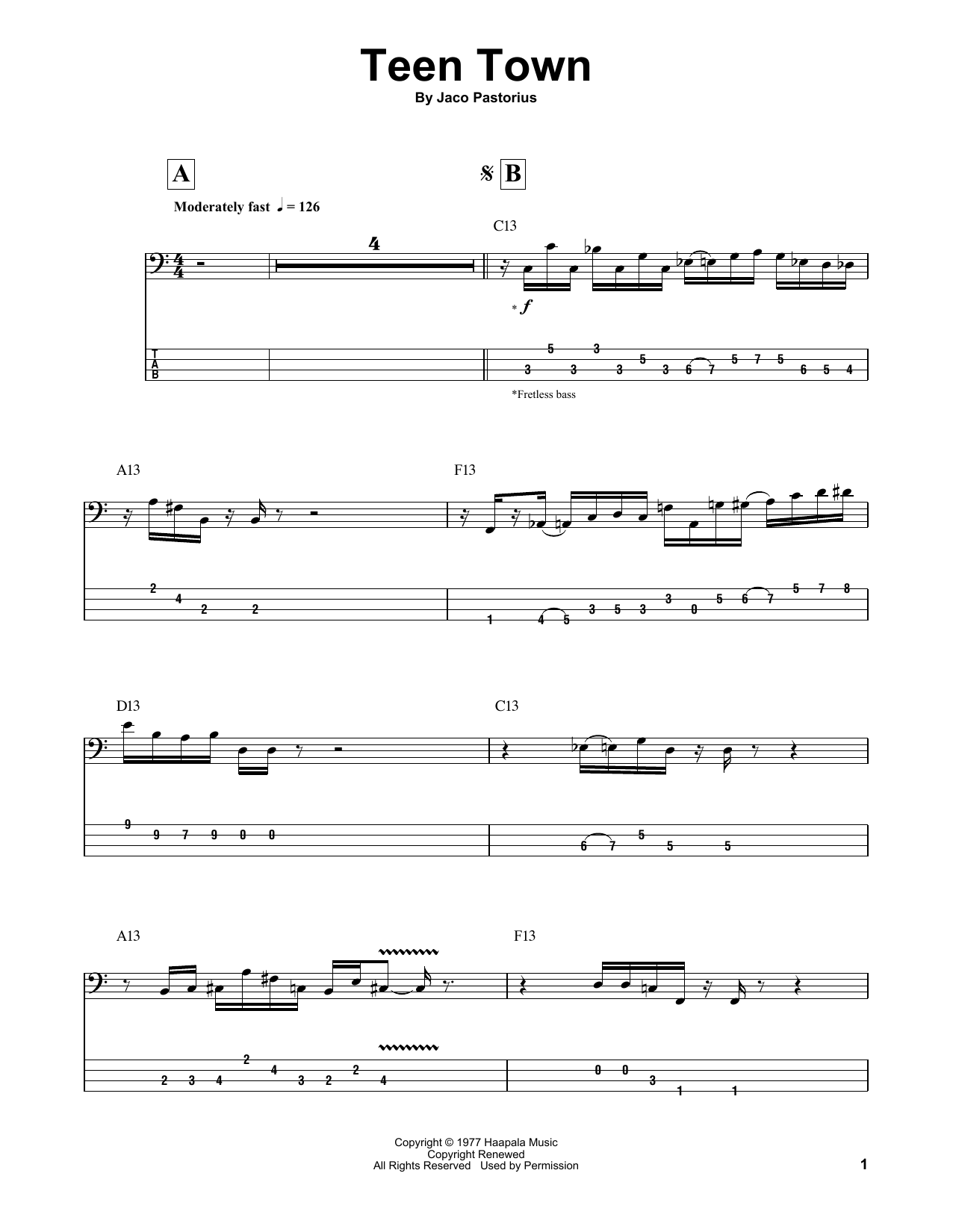 Tablature guitare Teen Town de Jaco Pastorius - Tablature Basse