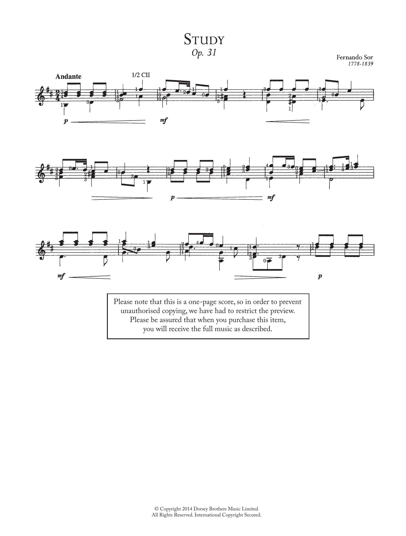 Fernando Sor - Study, Op.31