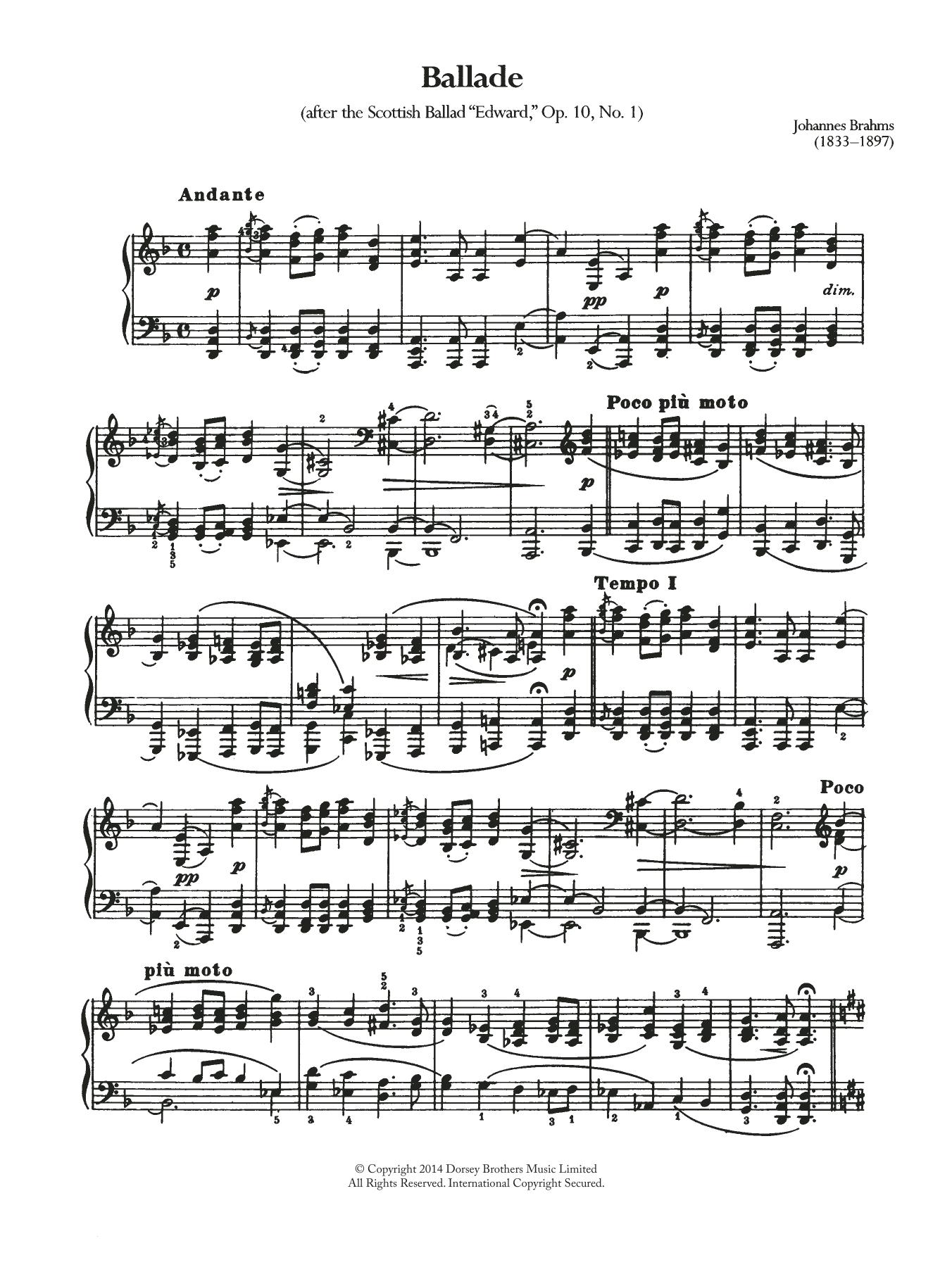 Johannes Brahms - Ballade, Op.10 No.1