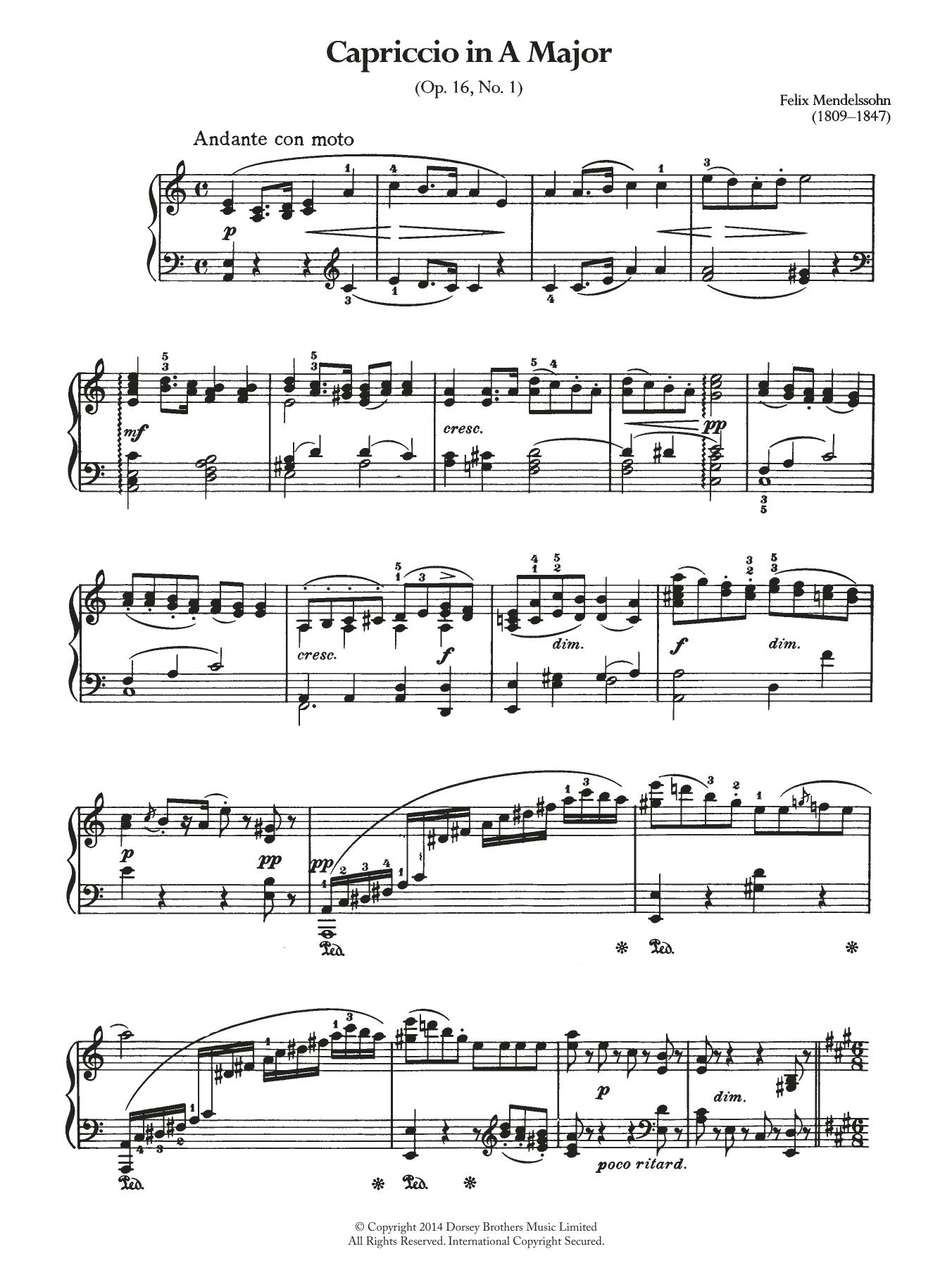 Felix Mendelssohn - Capriccio In A Major