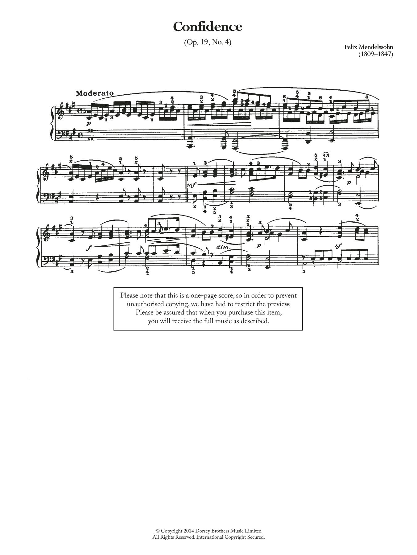 Felix Mendelssohn - Confidence Op.19, No.4