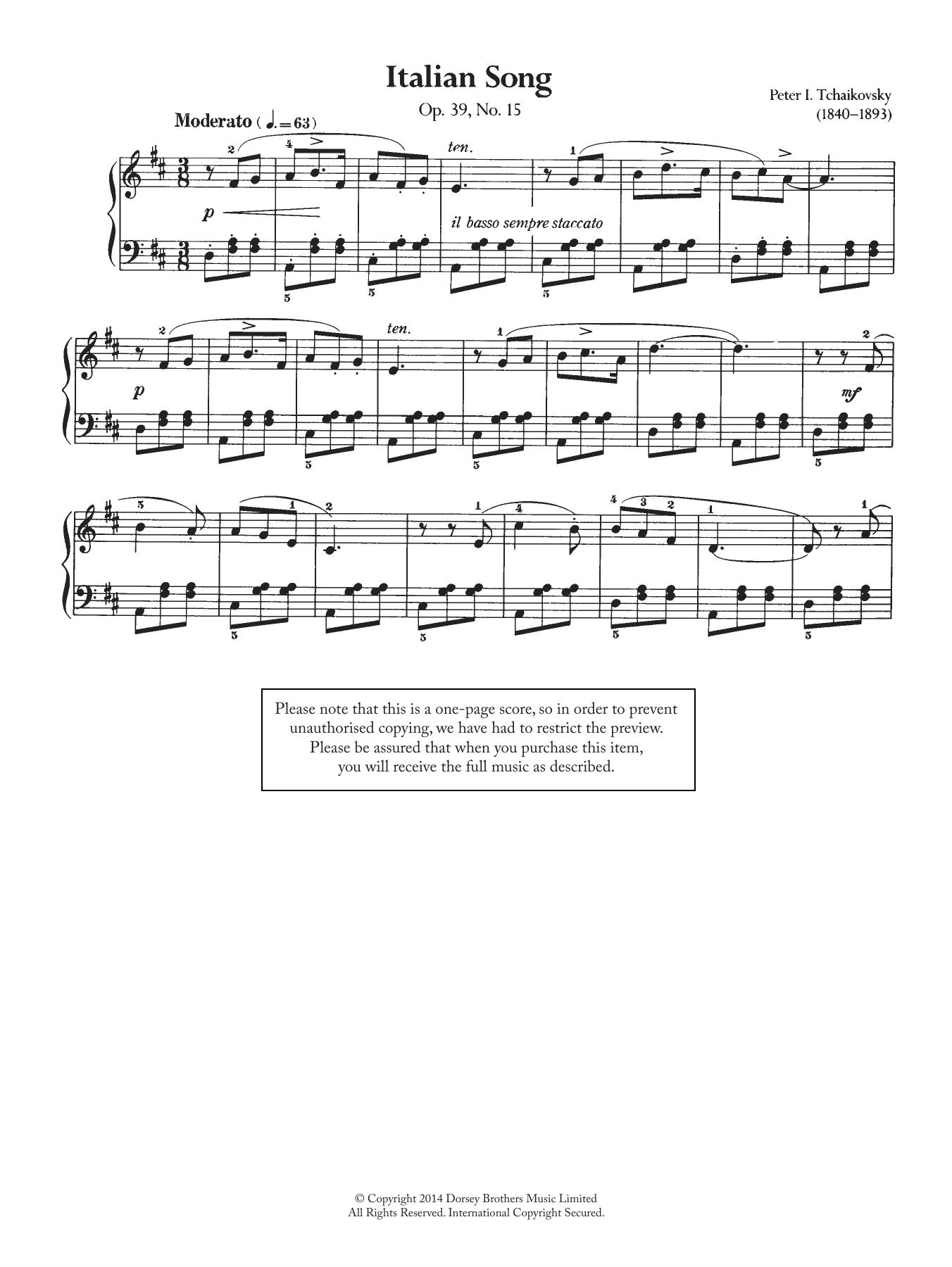 Pyotr Ilyich Tchaikovsky - Italian Song, Op.39 No.15