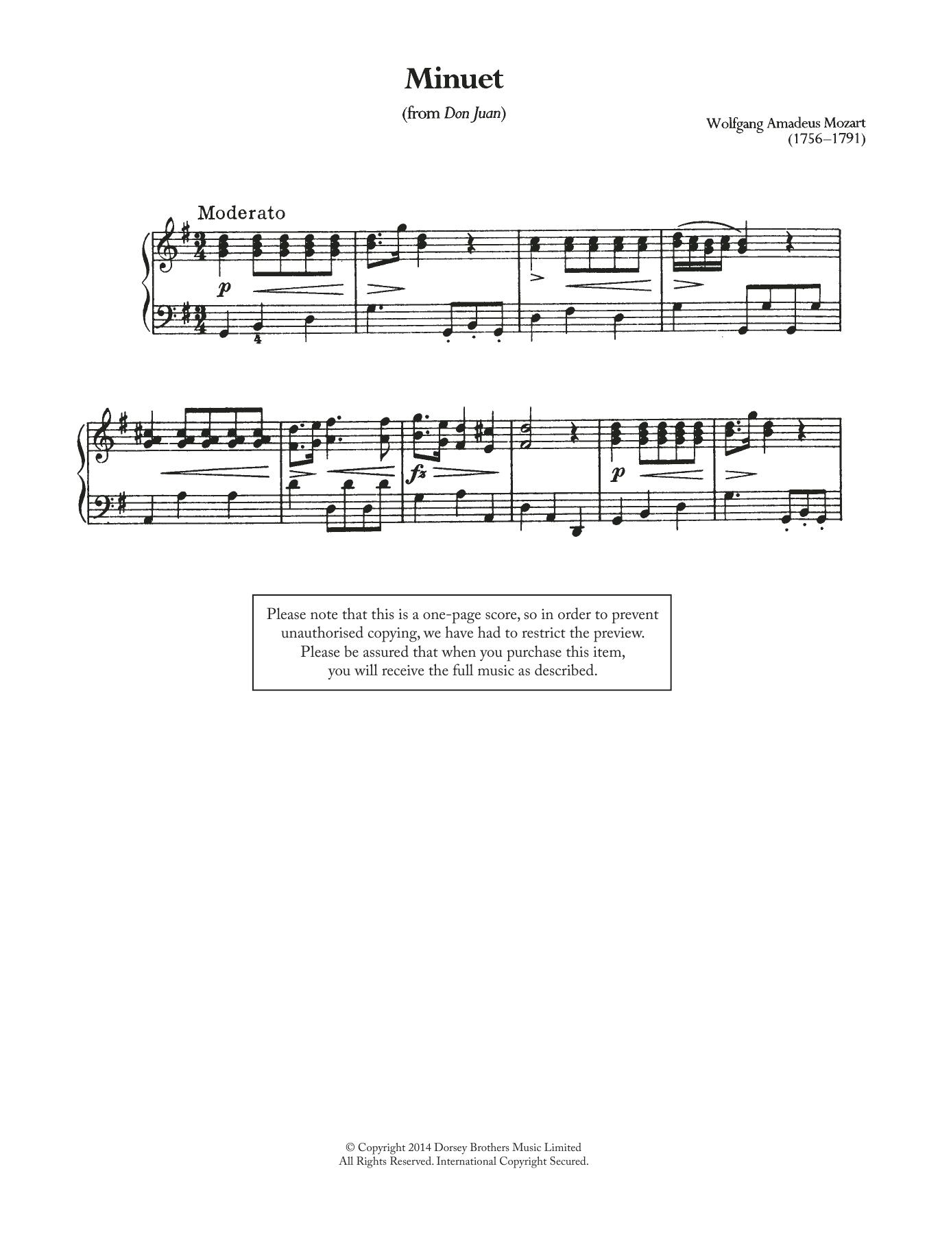Wolfgang Amadeus Mozart - Minuet (From 'Don Juan')