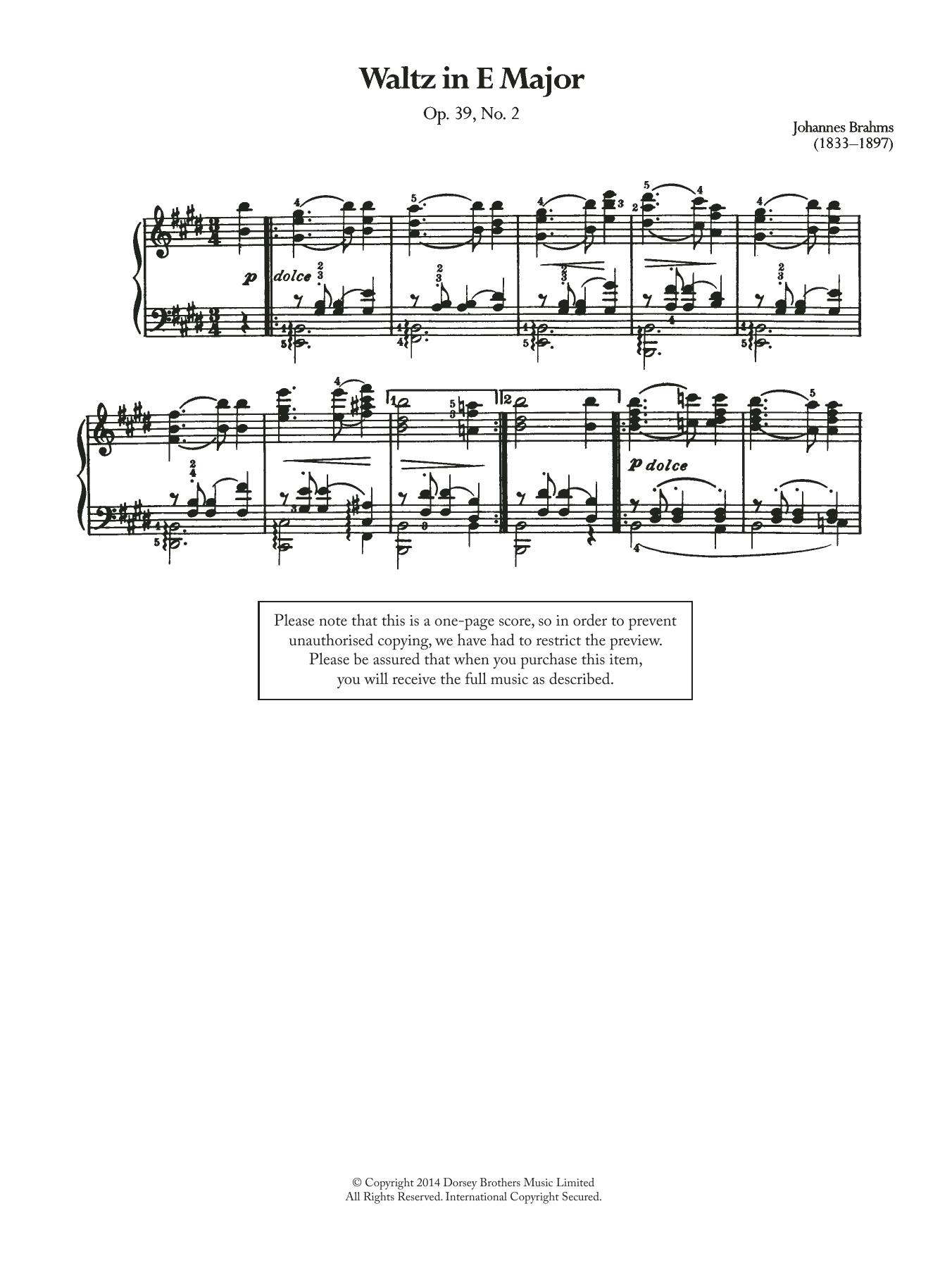 Johannes Brahms - Waltz In E Major, Op.39 No.2