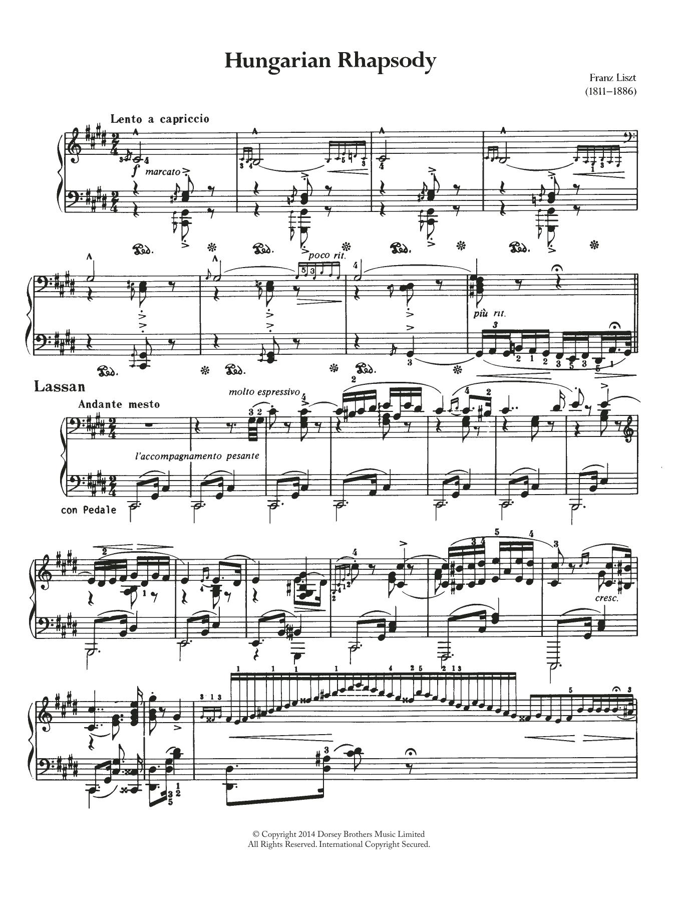 Franz Liszt - Hungarian Rhapsody (Ungarische Rhapsody) No.2