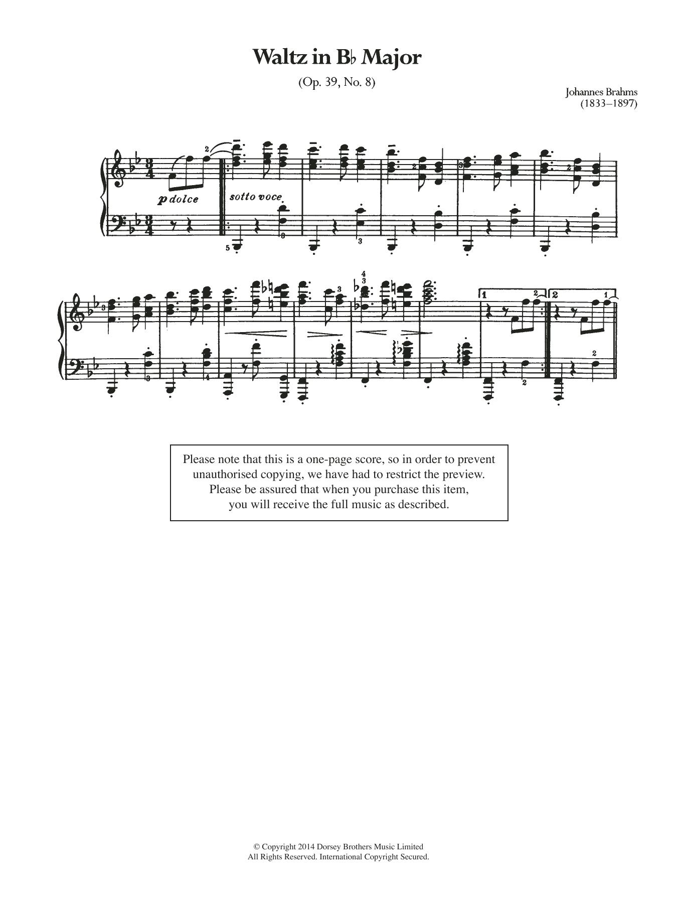 Johannes Brahms - Waltz In B Flat, Op.39 No.8