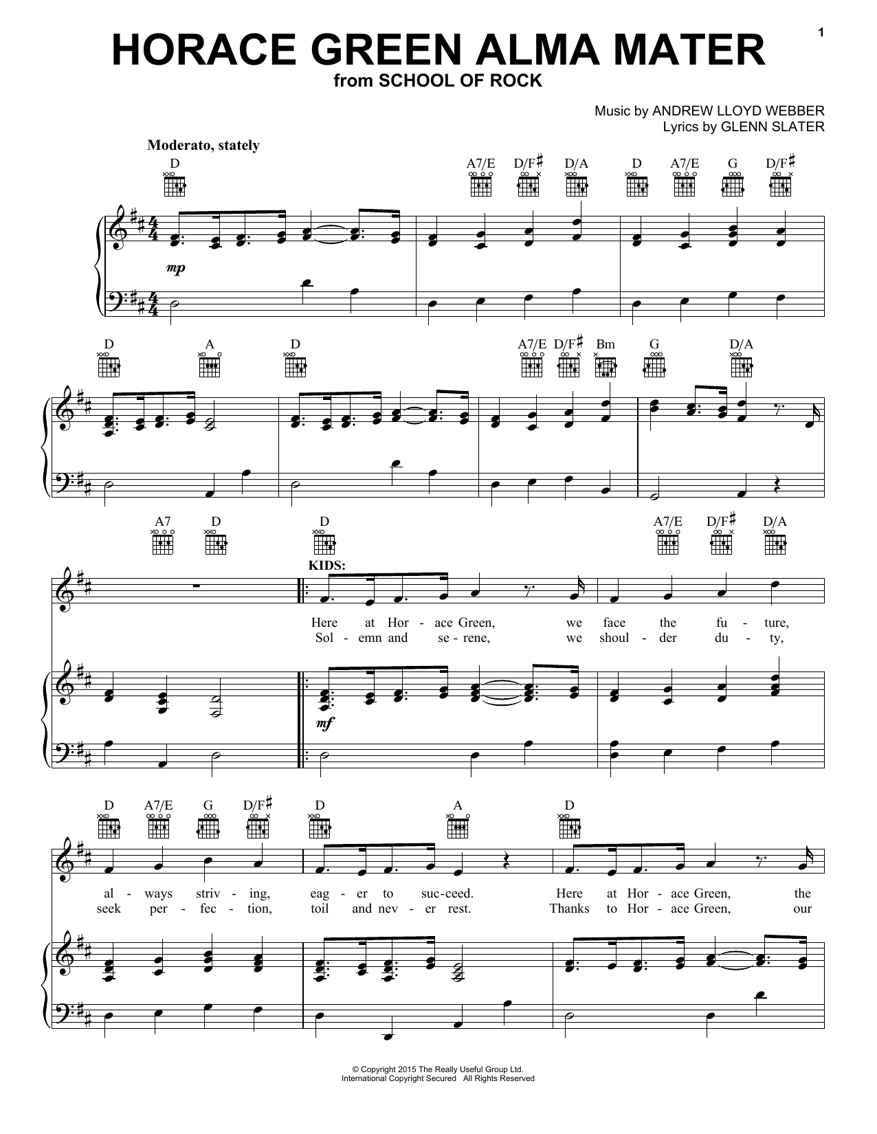 Partition piano Horace Green Alma Mater (from School Of Rock de Andrew Lloyd Webber - Piano Voix Guitare (Mélodie Main Droite)