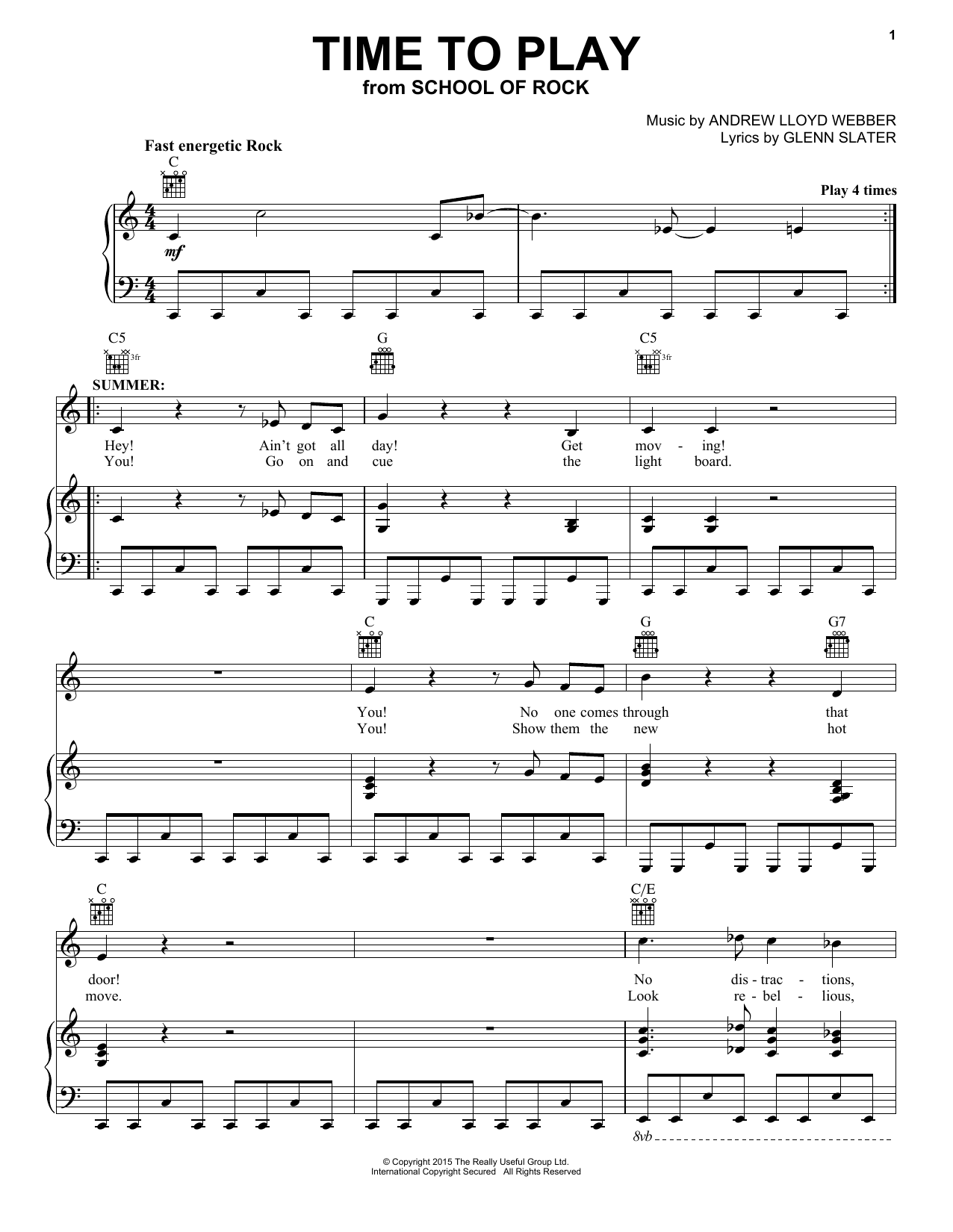 Partition piano Time To Play (from School Of Rock de Andrew Lloyd Webber - Piano Voix Guitare (Mélodie Main Droite)