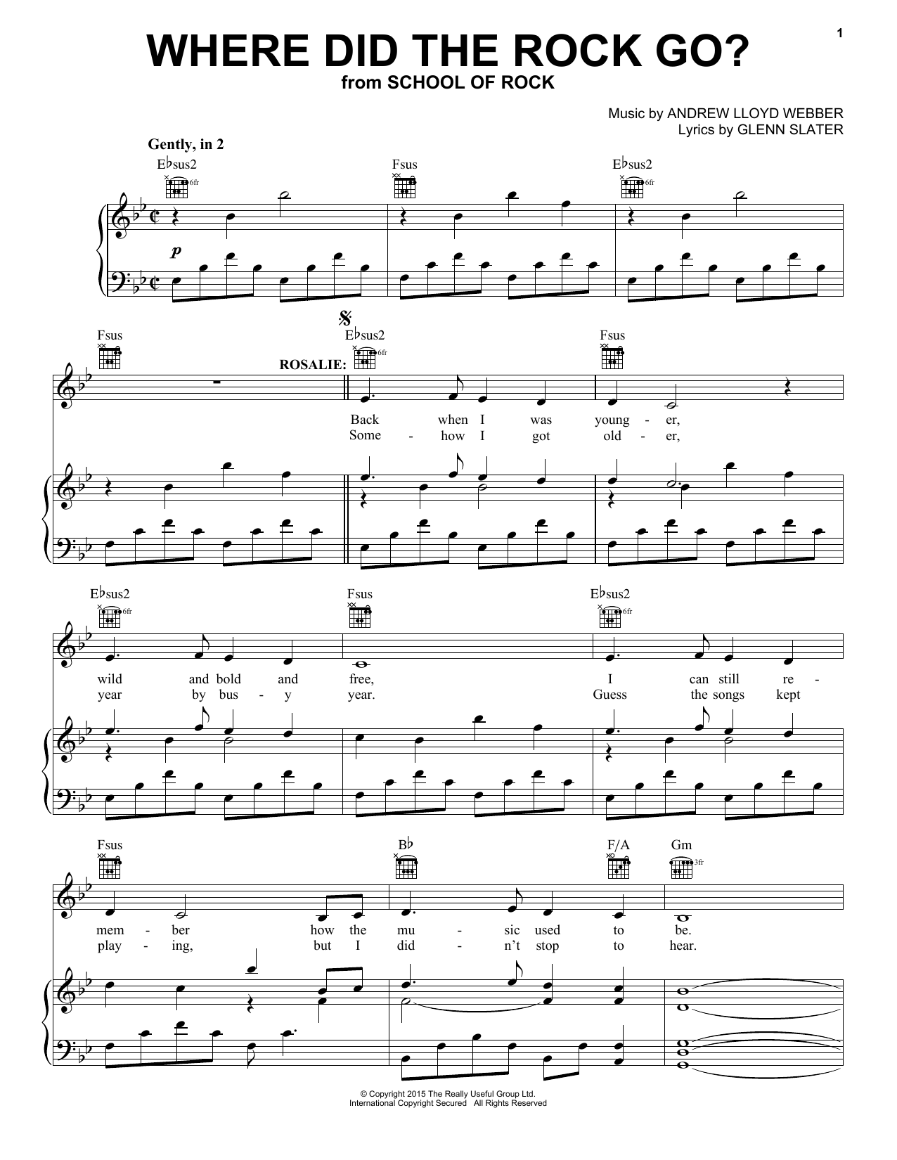 Partition piano Where Did The Rock Go? (from School Of Rock de Andrew Lloyd Webber - Piano Voix Guitare (Mélodie Main Droite)
