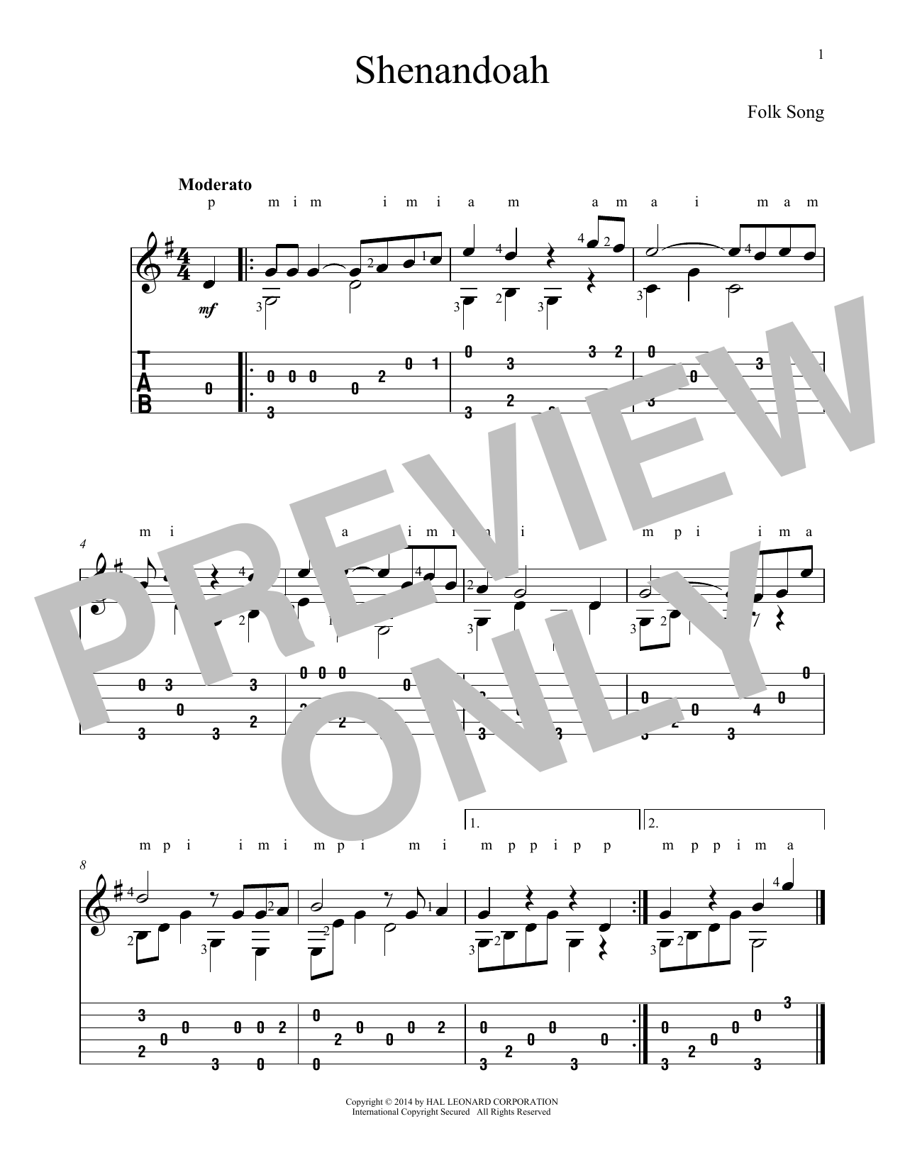 Tablature guitare Shenandoah de Traditional American Folksong - Tablature Guitare