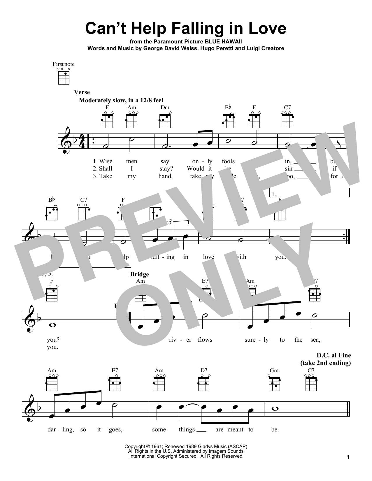 Tablature guitare Can't Help Falling In Love de Elvis Presley - Ukulele