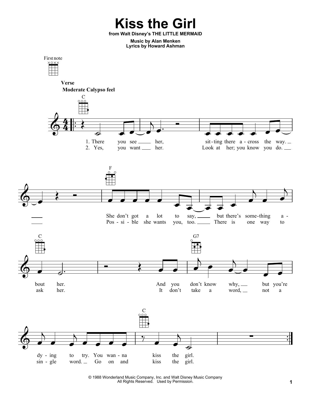 Tablature guitare Kiss The Girl de Alan Menken - Ukulele