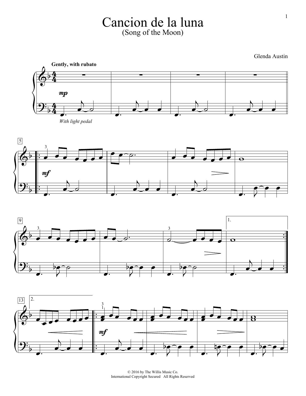 Partition piano Cancion De La Luna de Glenda Austin - Piano Solo