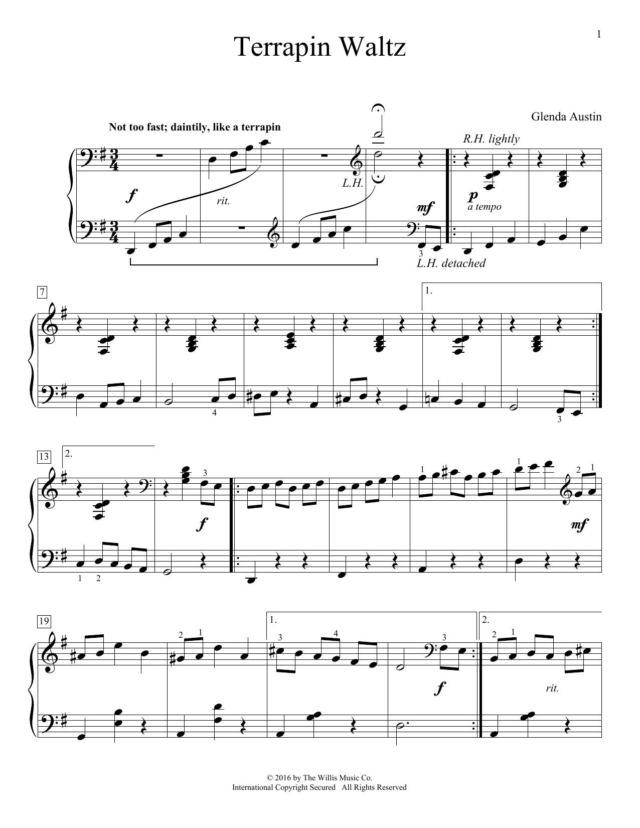 Partition piano Terrapin Waltz de Glenda Austin - Piano Solo