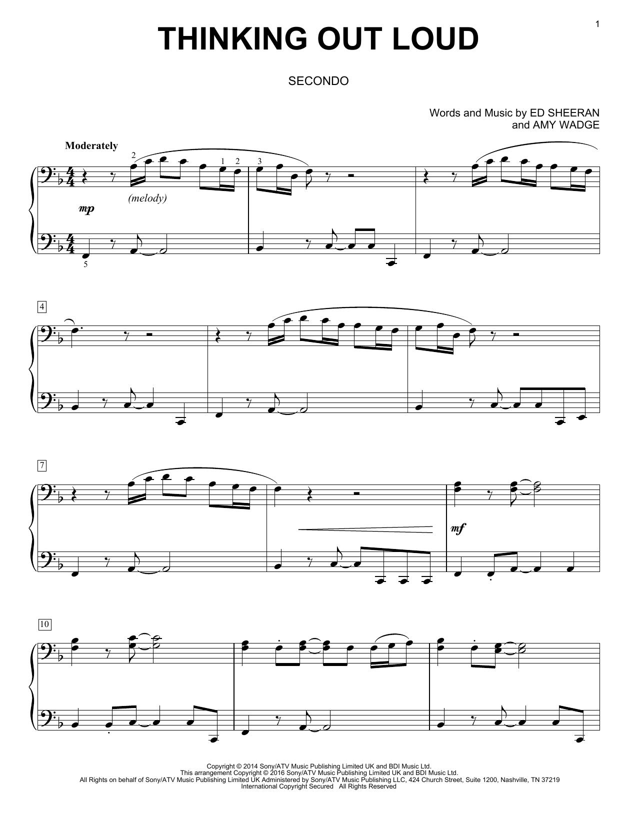 Partition piano Thinking Out Loud de Ed Sheeran - 4 mains