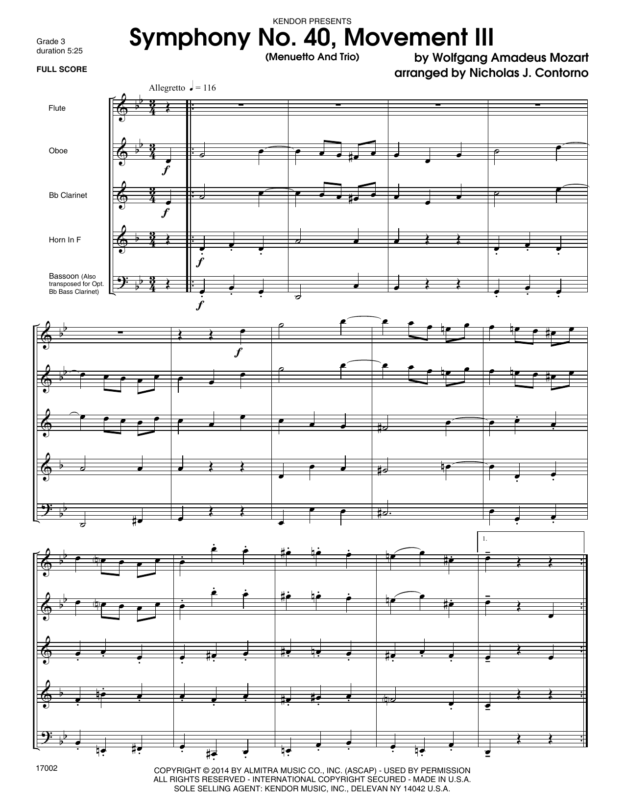 Symphony No. 40, Movement III (Menuetto And Trio) (COMPLETE) sheet music for wind quintet by Ludwig van Beethoven