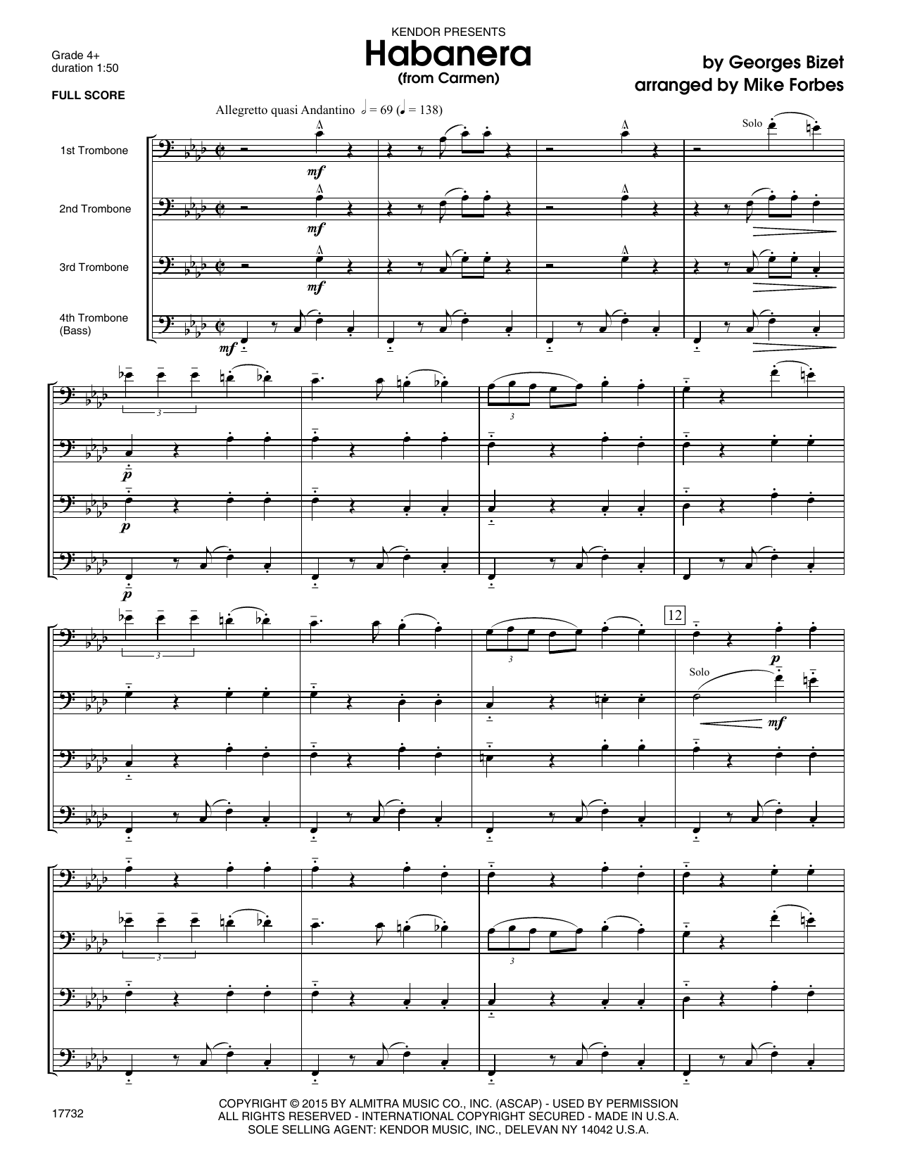 Habanera (from Carmen) (COMPLETE) sheet music for four trombones by Georges Bizet