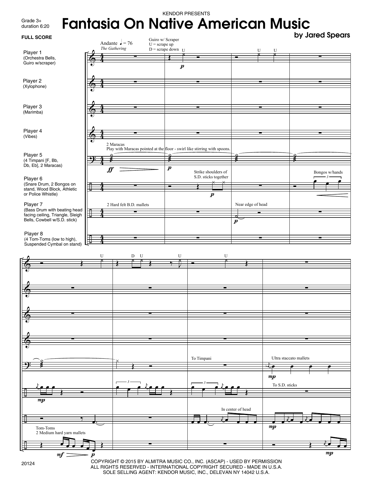Fantasia On Native American Music (COMPLETE) sheet music for percussions by Jared Spears