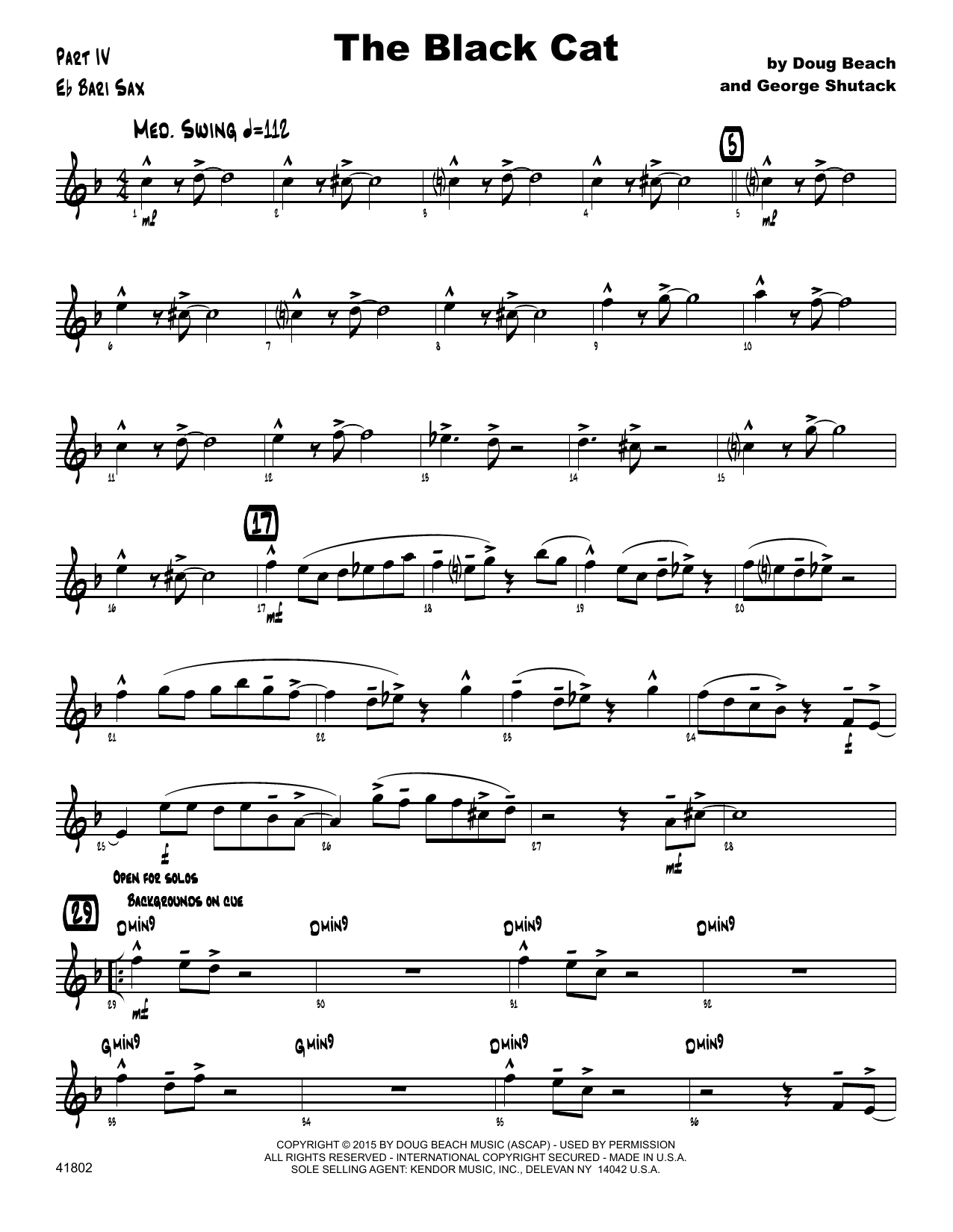 George Shutack - The Black Cat - Eb Baritone Saxophone
