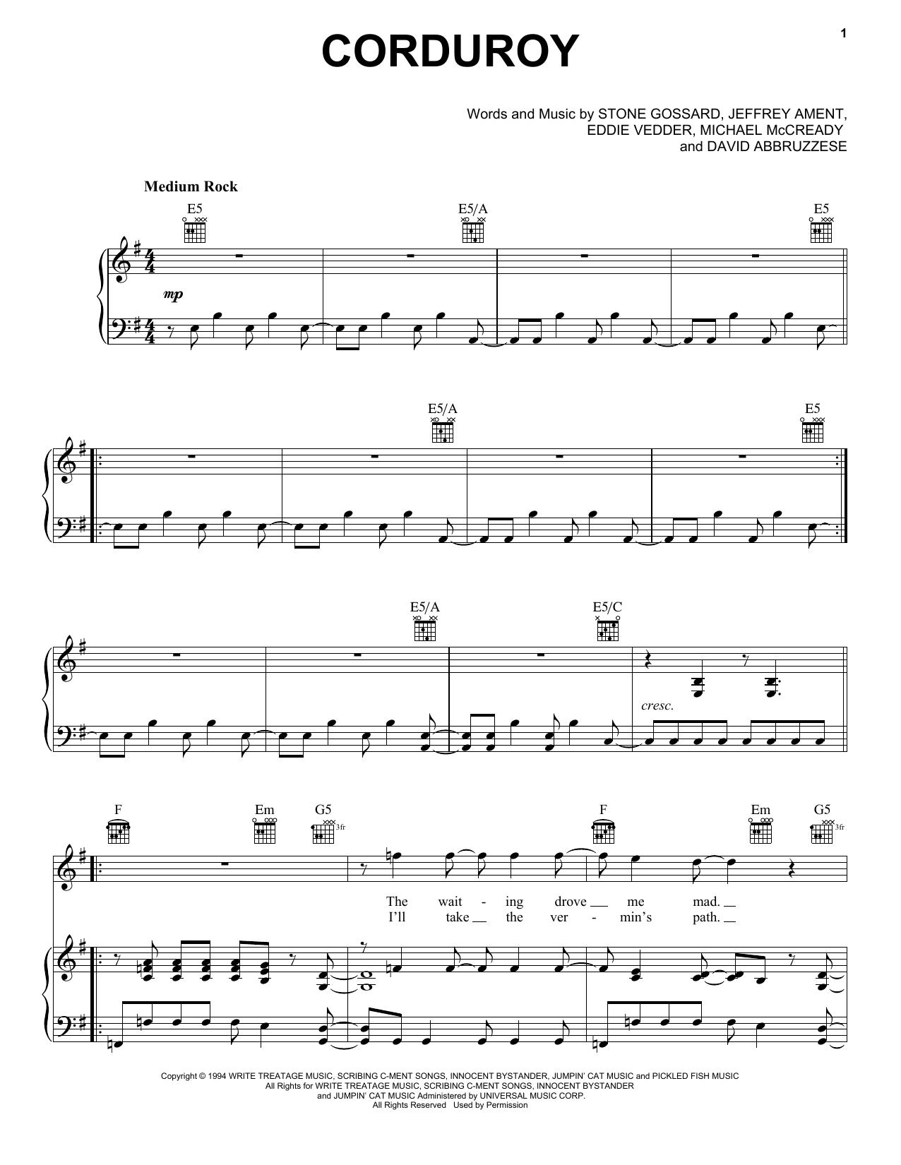 Partition piano Corduroy de Pearl Jam - Piano Voix Guitare (Mélodie Main Droite)