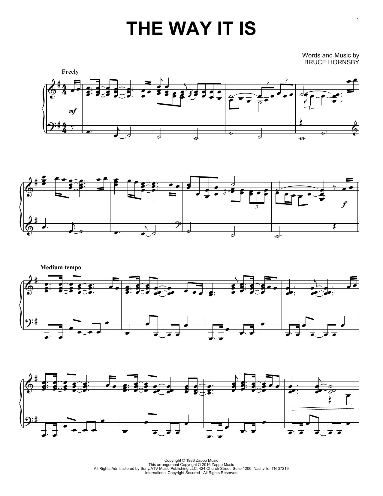Partition piano The Way It Is de Bruce Hornsby & The Range - Piano Solo
