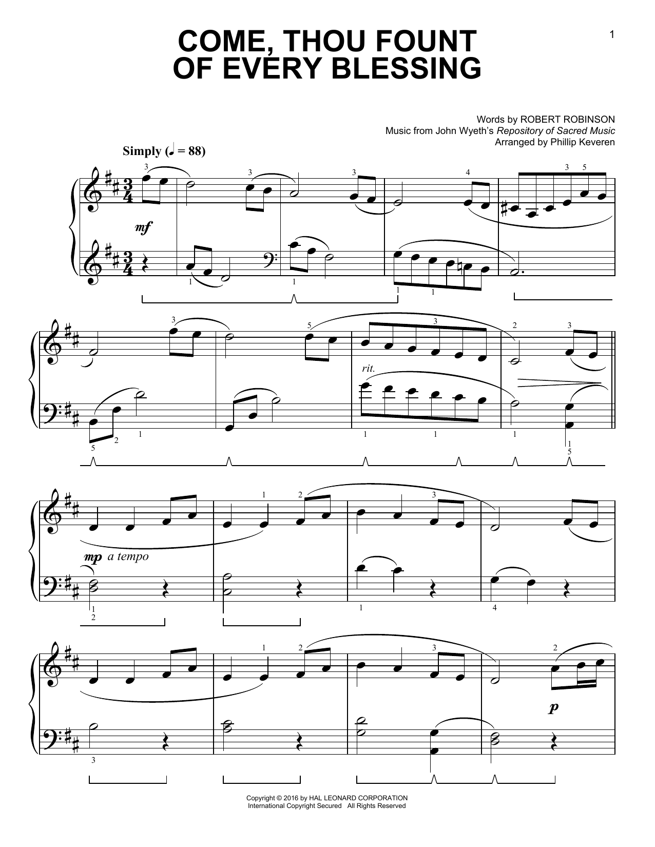 Partition piano Come, Thou Fount Of Every Blessing de Phillip Keveren - Piano Facile