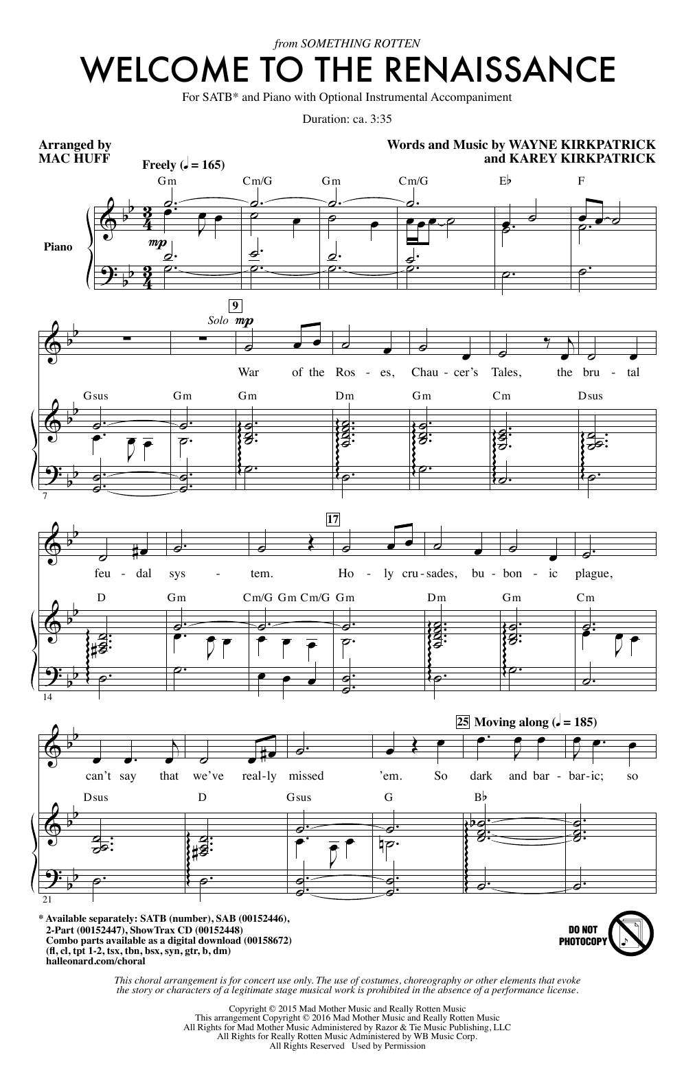 Partition chorale Welcome To The Renaissance de Mac Huff - SATB