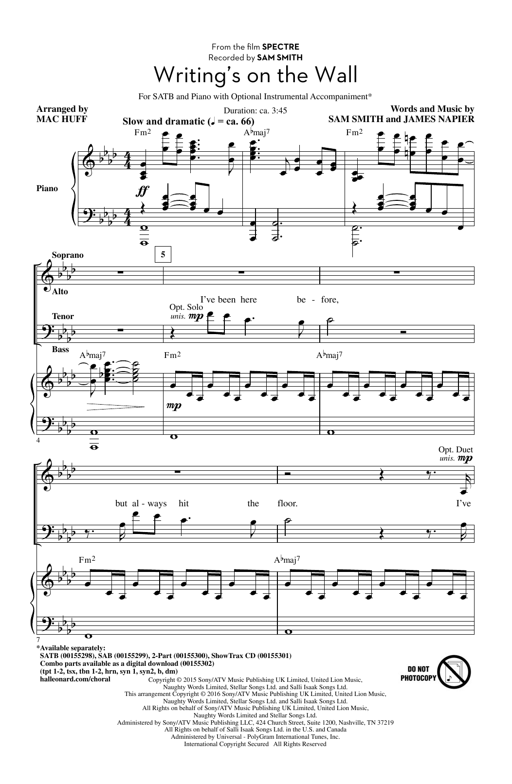 Partition chorale Writing's On The Wall de Mac Huff - SATB