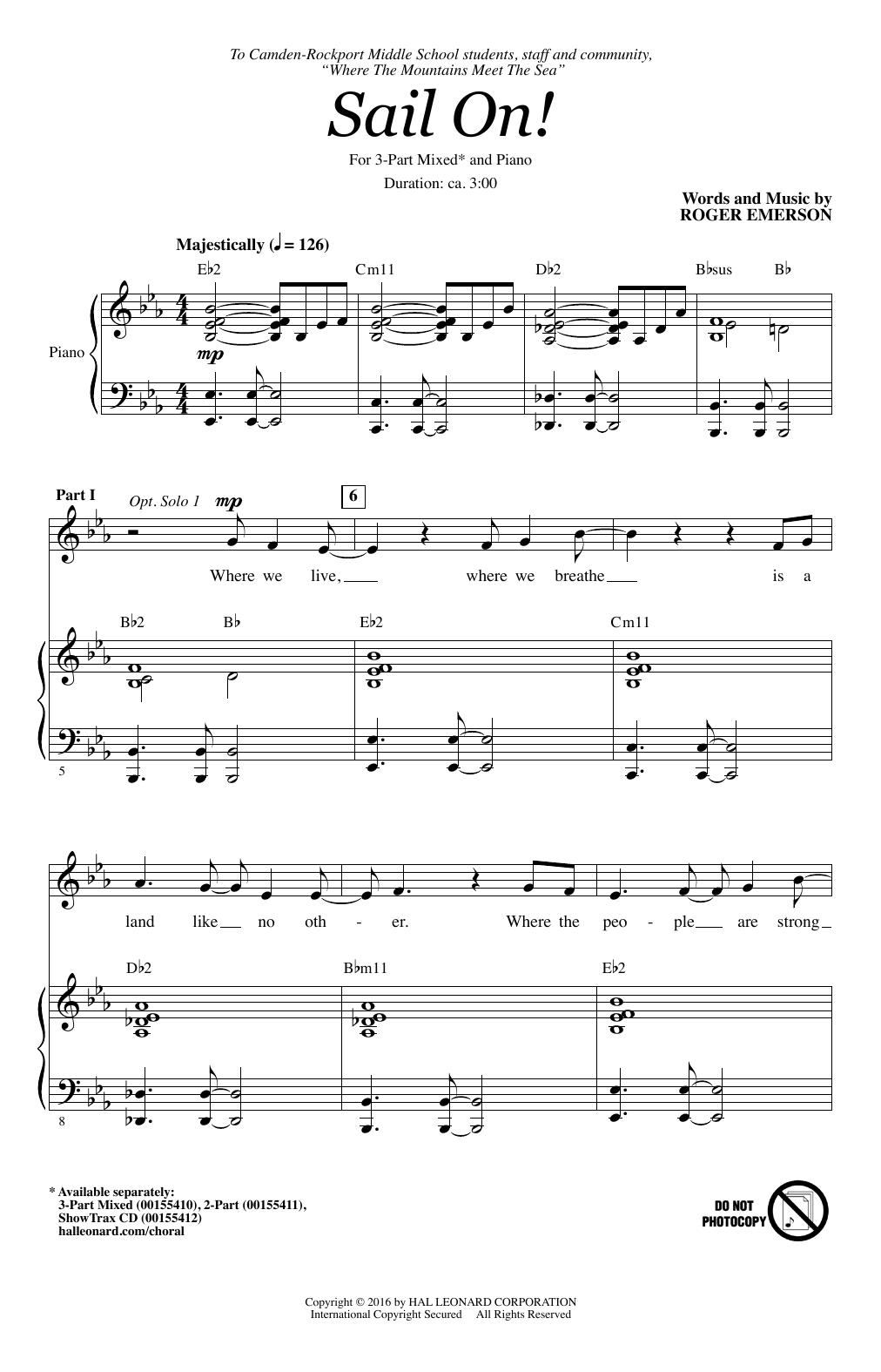 Partition chorale Sail On! de Roger Emerson - 3 voix mixtes