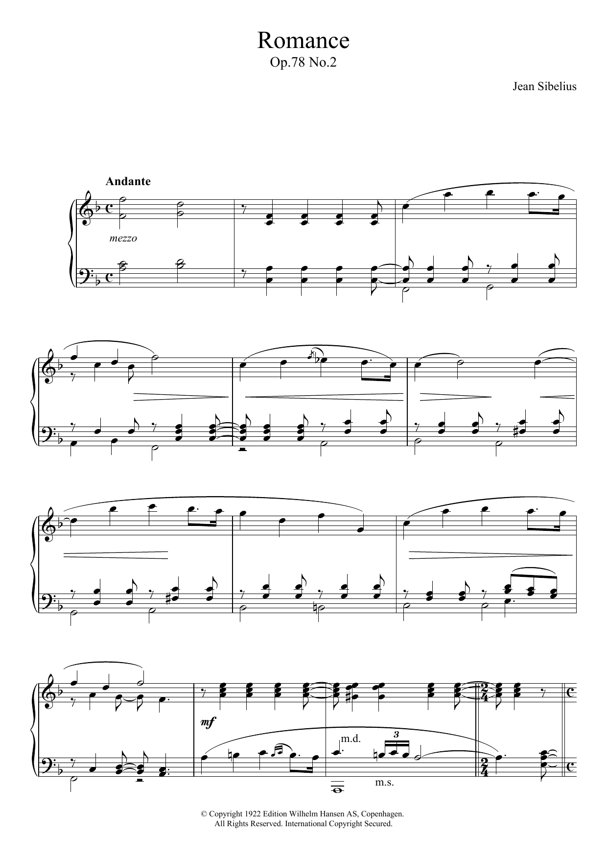 Jean Sibelius - Romance, Op.78 No.2