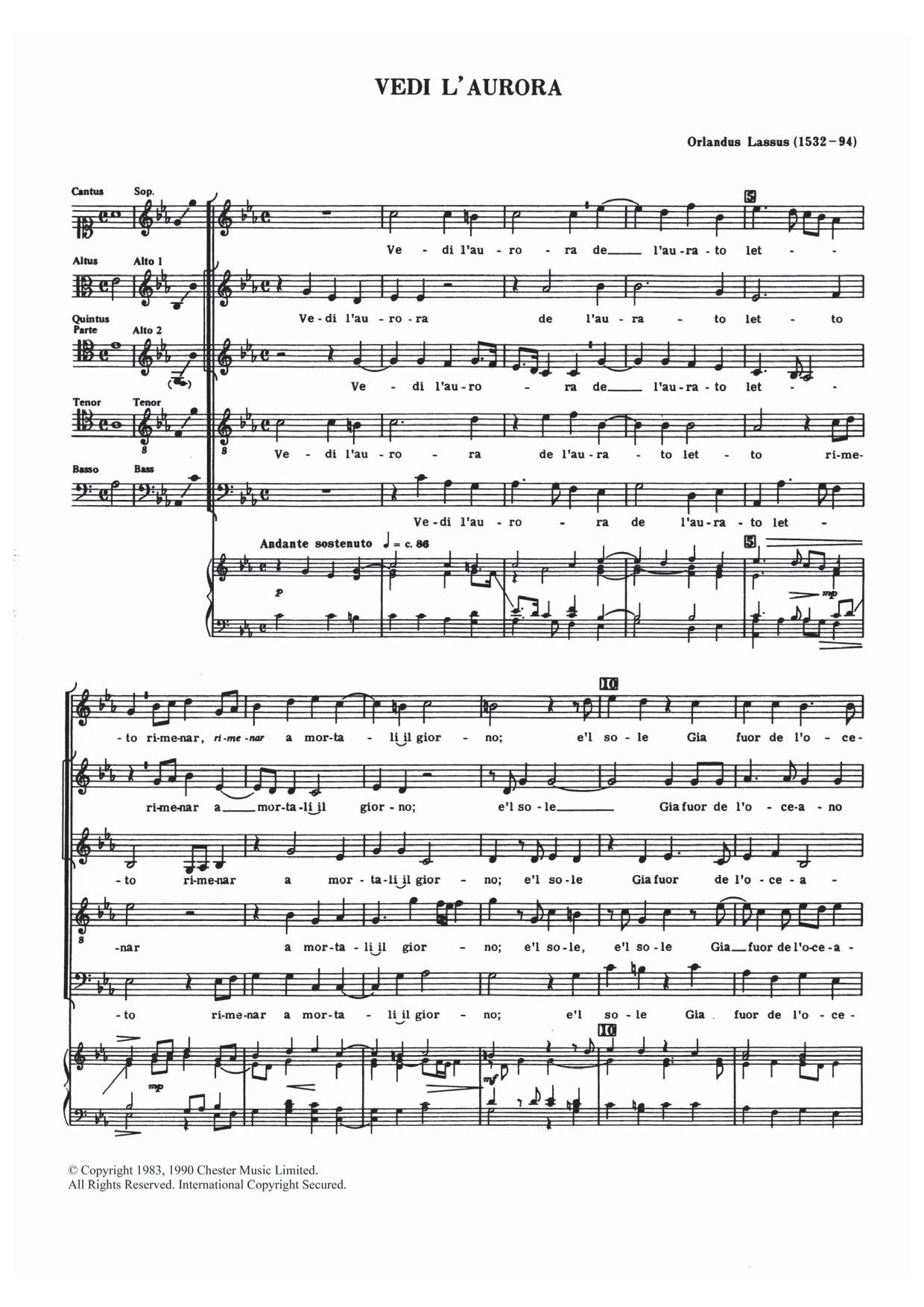 Orlandus Lassus - Vedi L'aurora