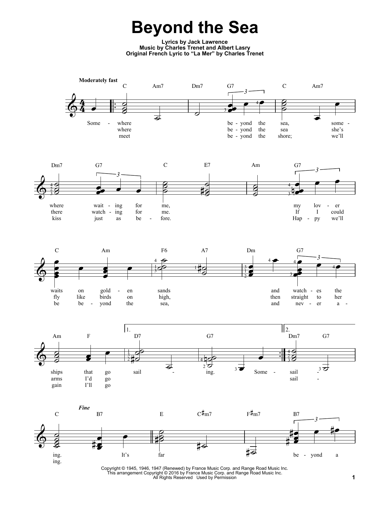 Partition autre Beyond The Sea de Bobby Darin - Tablature guitare facile