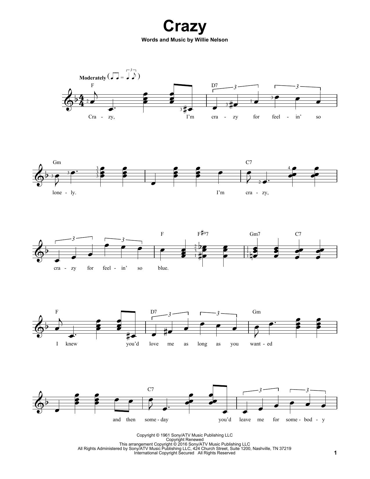Partition autre Crazy de Patsy Cline - Tablature guitare facile