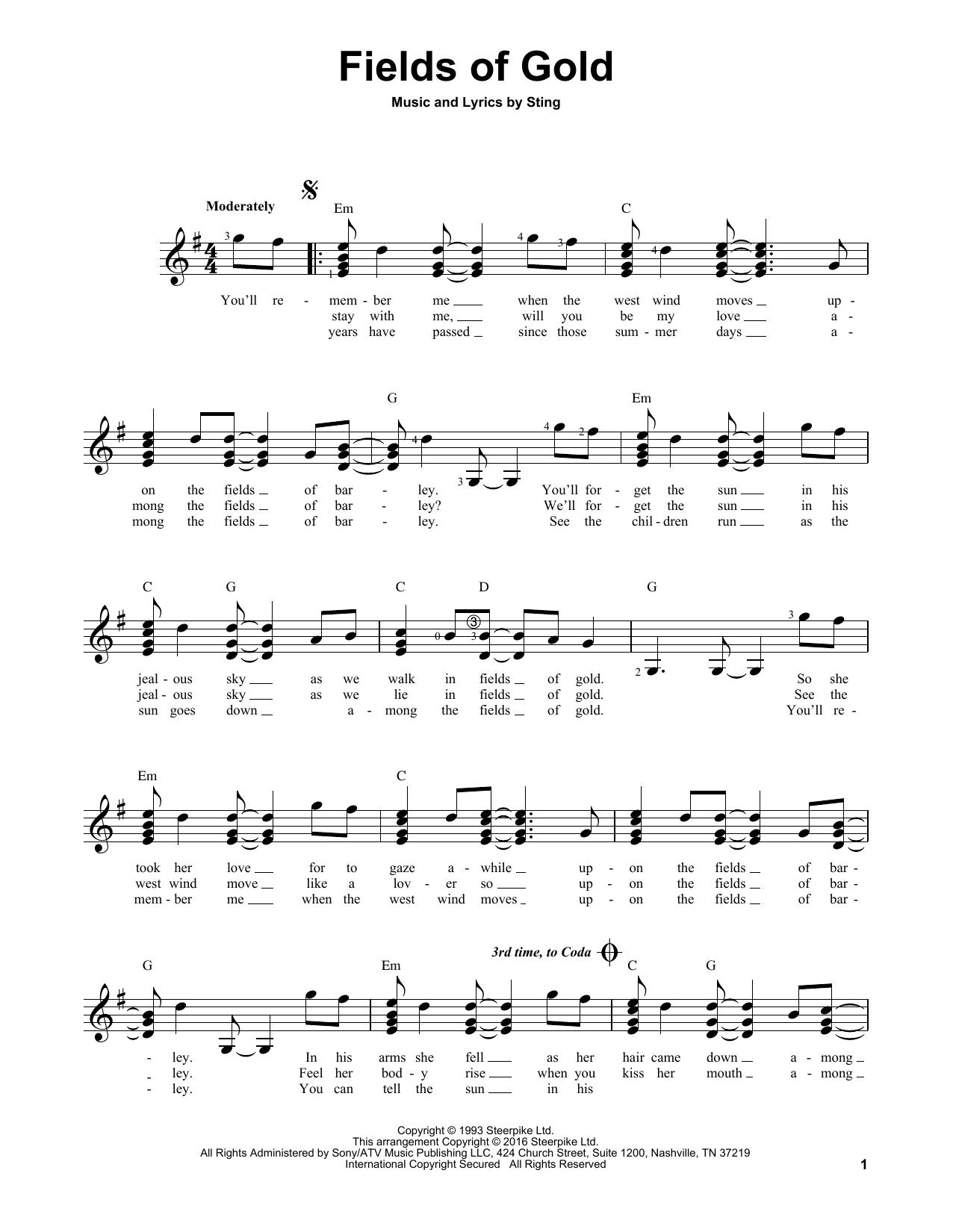 Partition autre Fields Of Gold de Sting - Tablature guitare facile