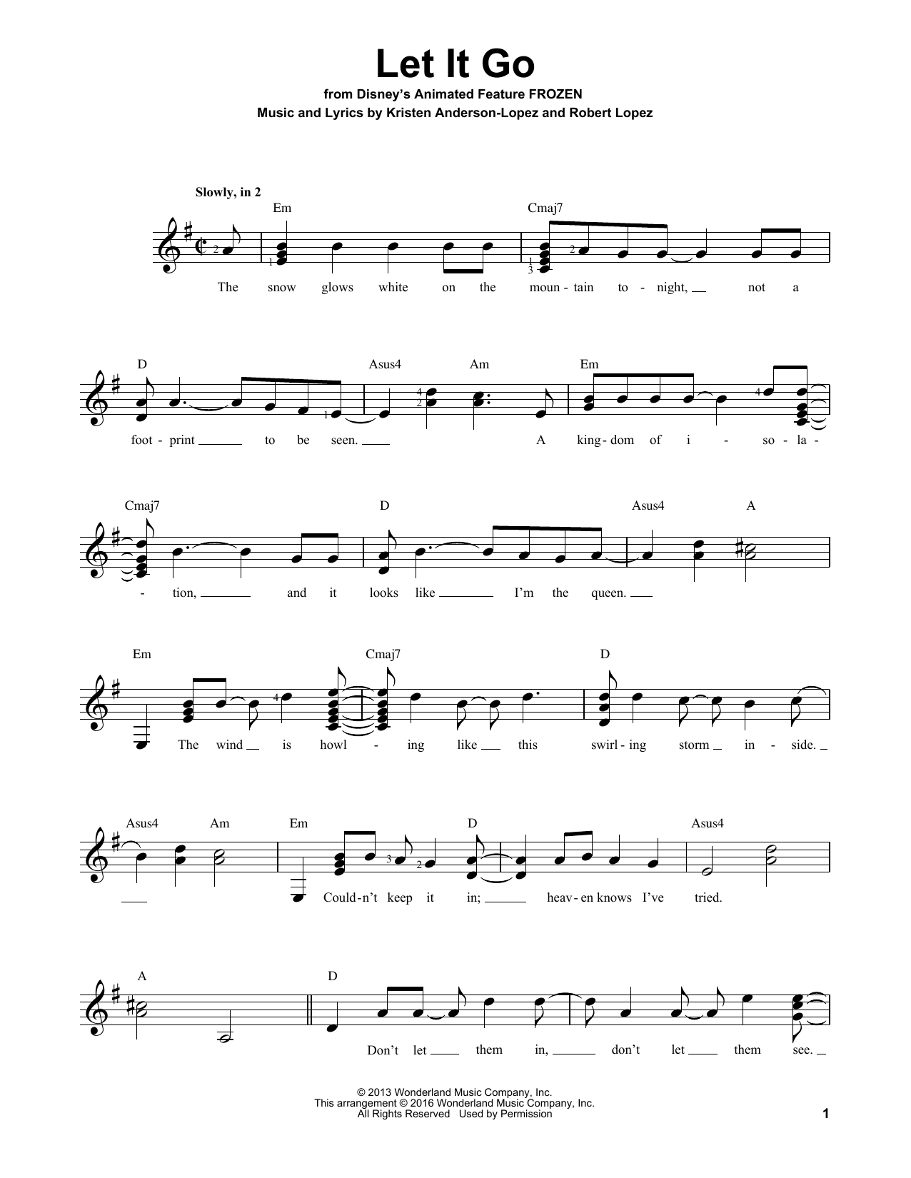 Partition autre Let It Go de Idina Menzel - Tablature guitare facile