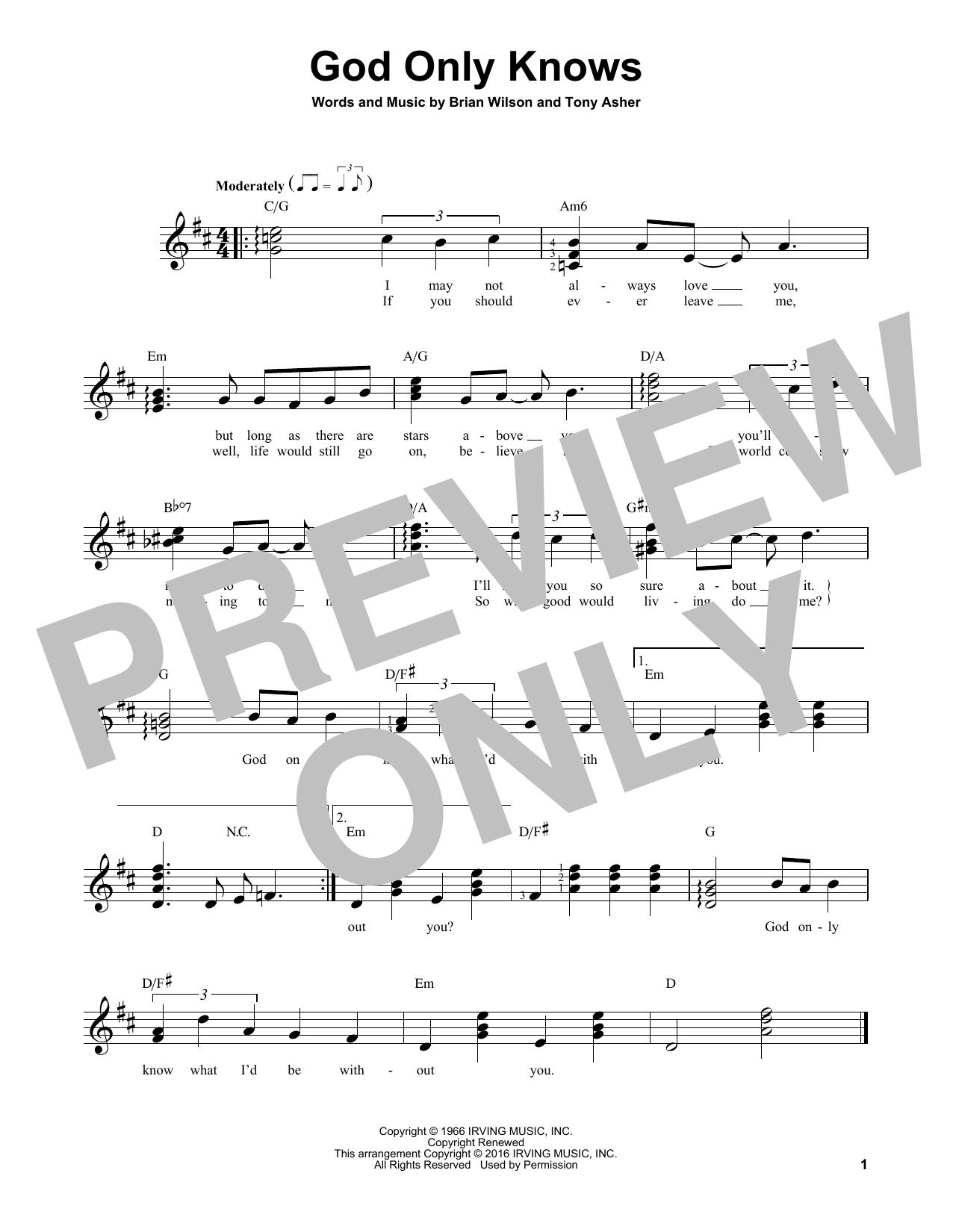 Partition autre God Only Knows de The Beach Boys - Tablature guitare facile