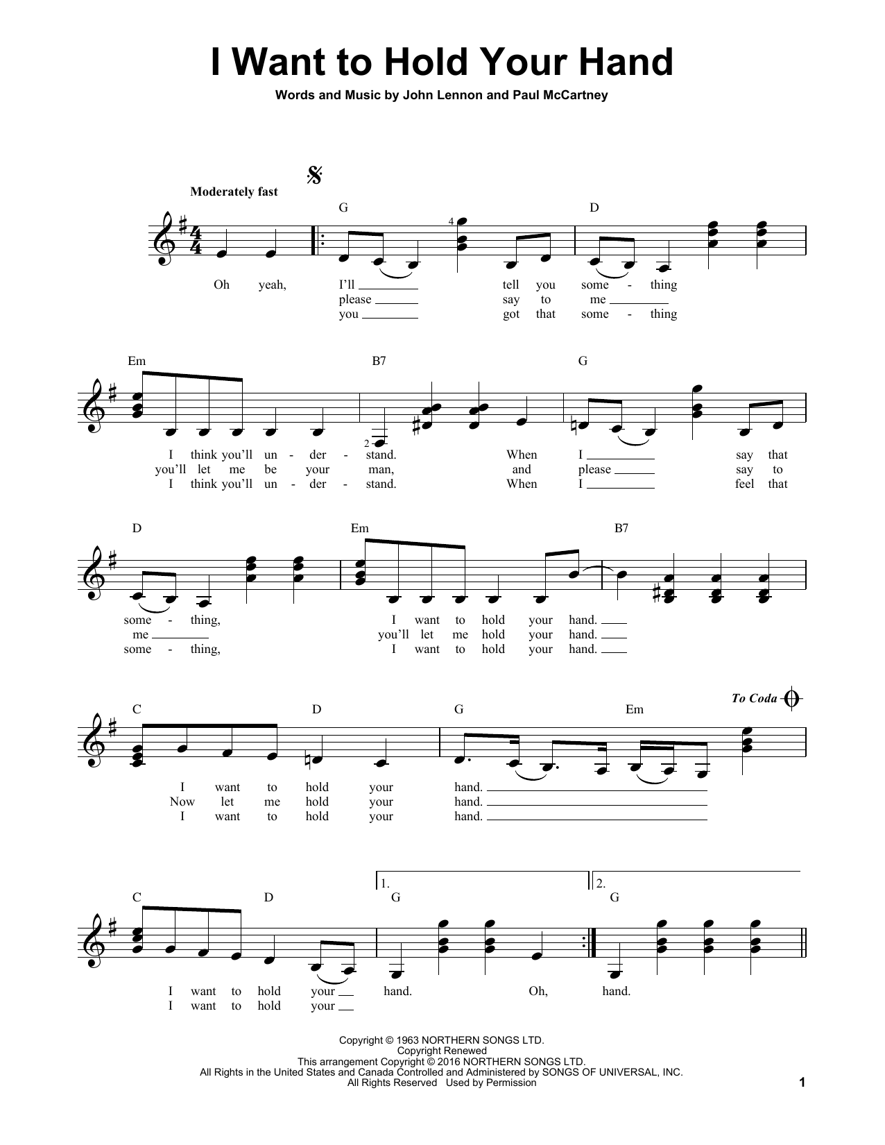 Partition autre I Want To Hold Your Hand de The Beatles - Tablature guitare facile