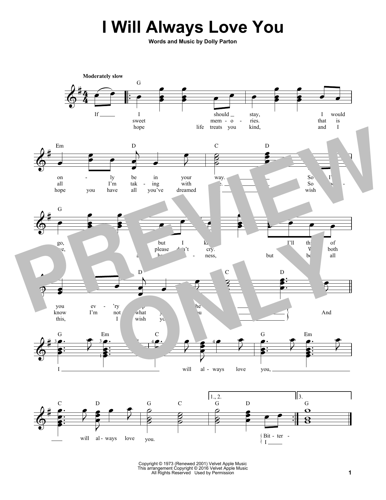 Partition autre I Will Always Love You de Whitney Houston - Tablature guitare facile