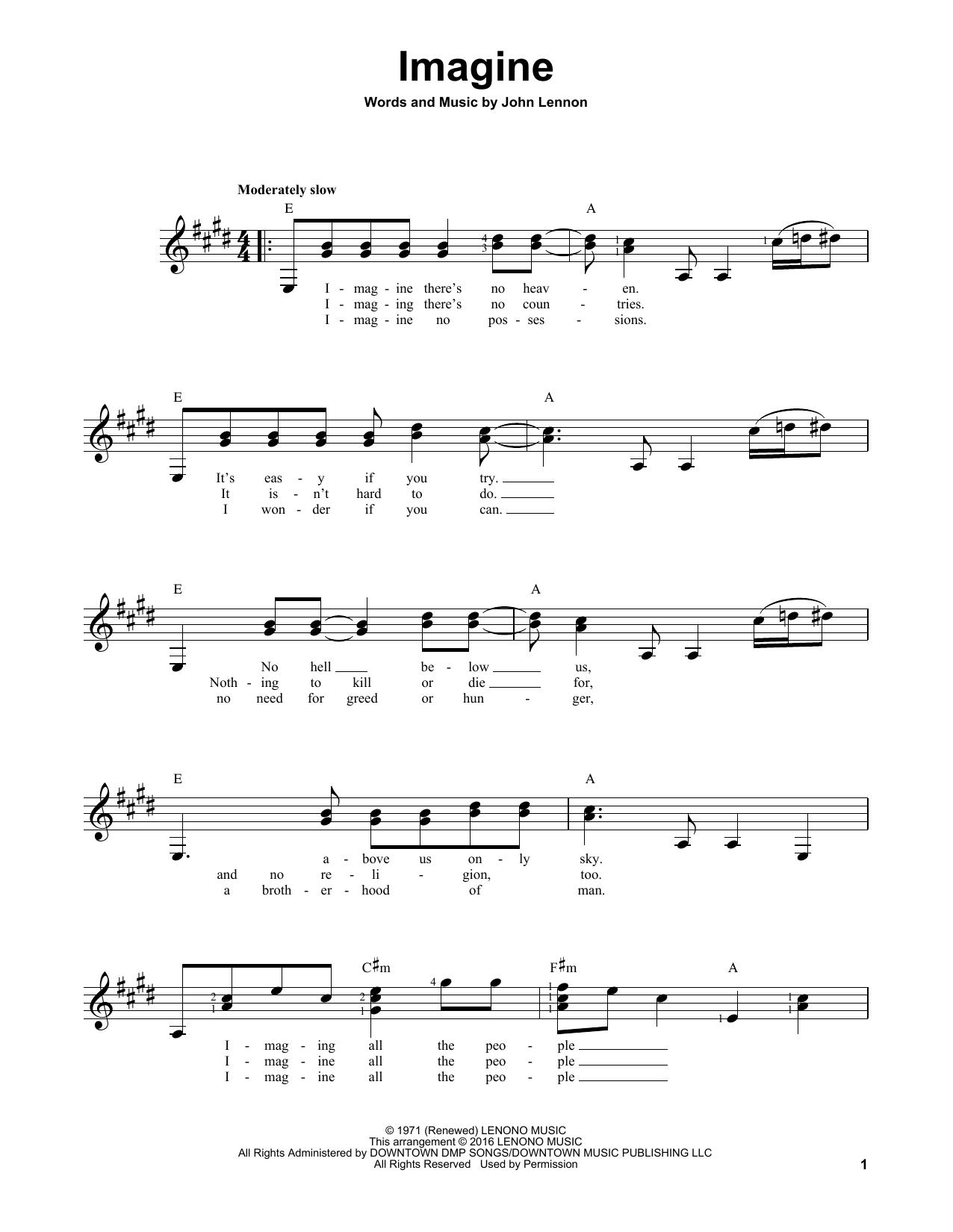 Partition autre Imagine de John Lennon - Tablature guitare facile