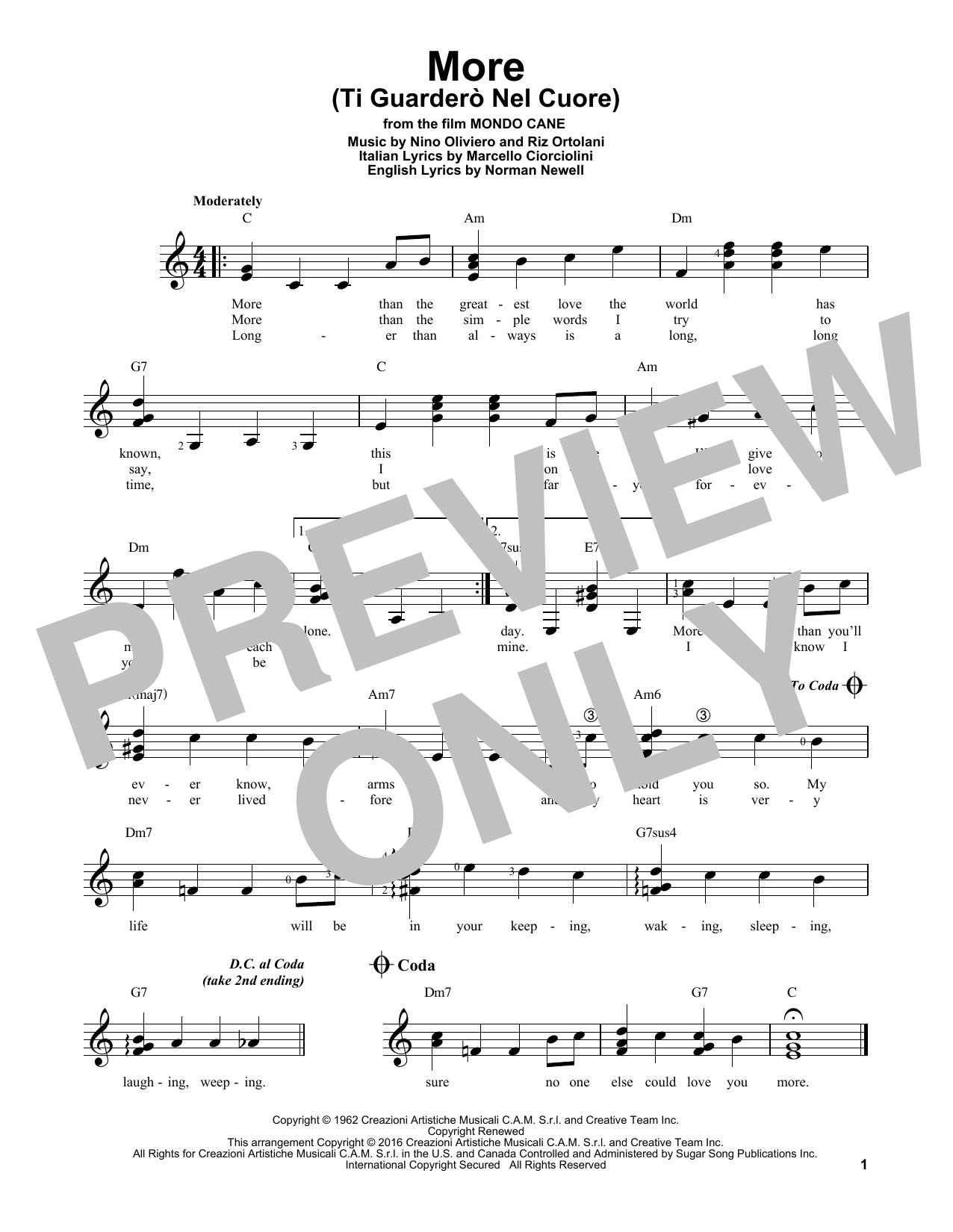 Partition autre More (Ti Guardero Nel Cuore) de Kai Winding - Tablature guitare facile