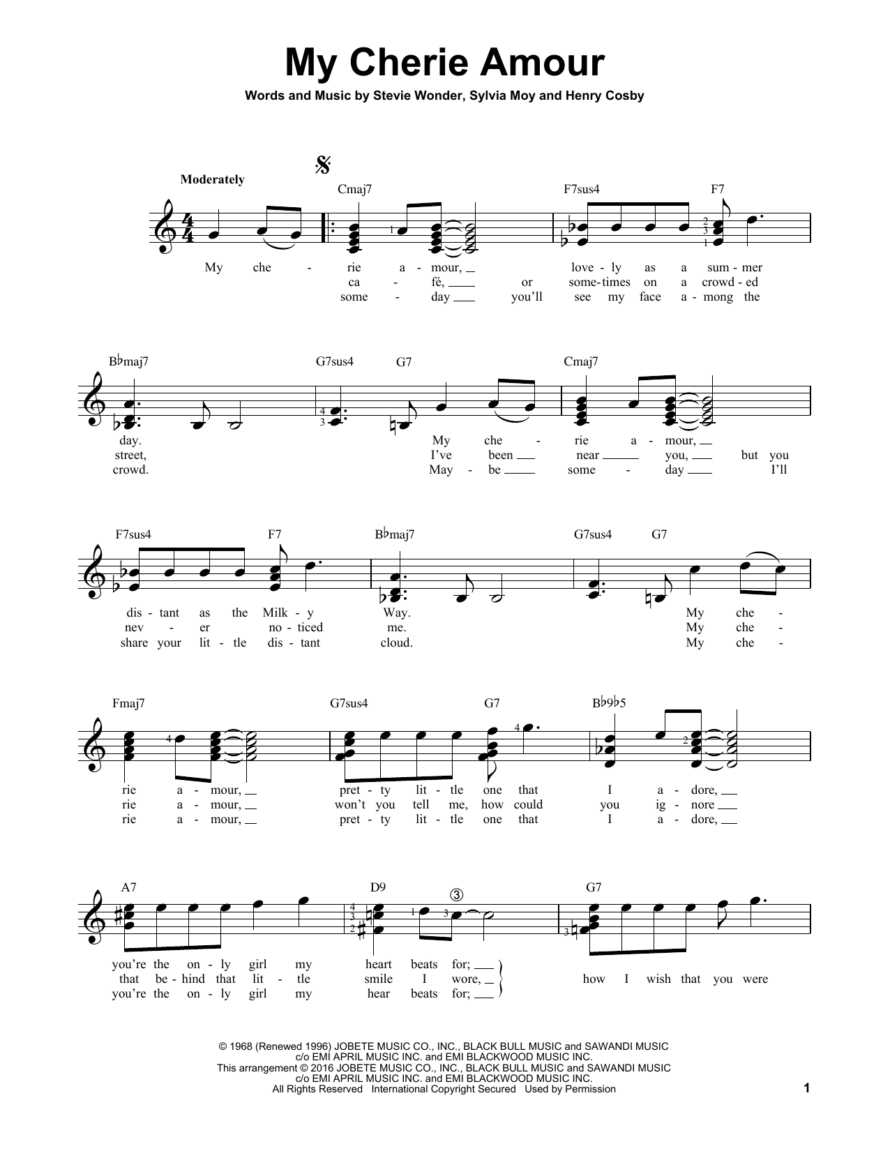 Partition autre My Cherie Amour de Stevie Wonder - Tablature guitare facile