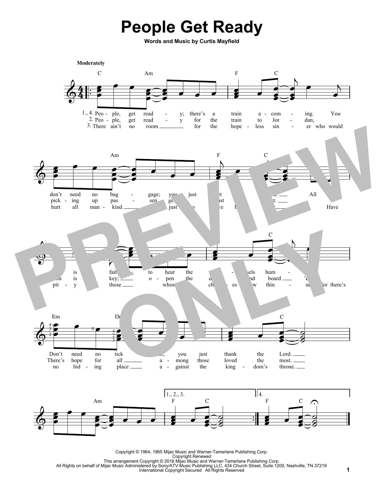 Partition autre People Get Ready de Bob Marley - Tablature guitare facile
