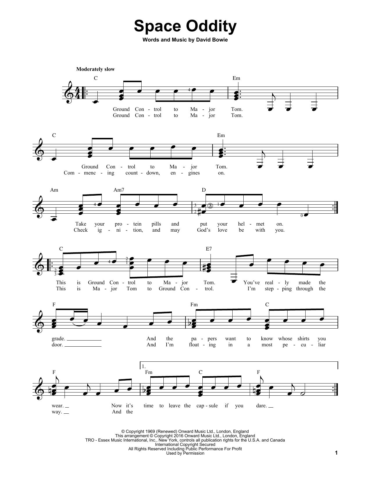 Partition autre Space Oddity de David Bowie - Tablature guitare facile