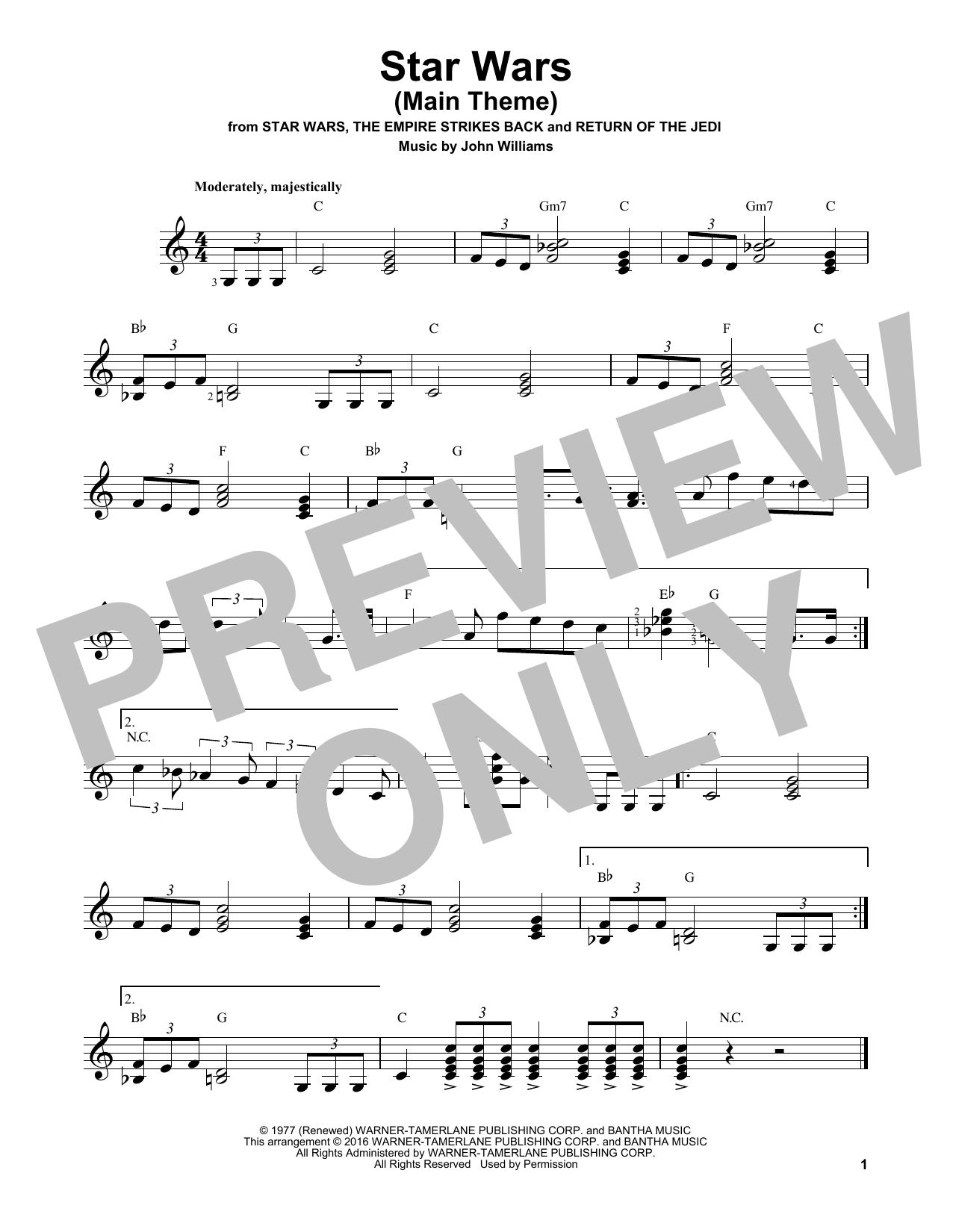 Partition autre Star Wars (Main Theme) de John Williams - Tablature guitare facile