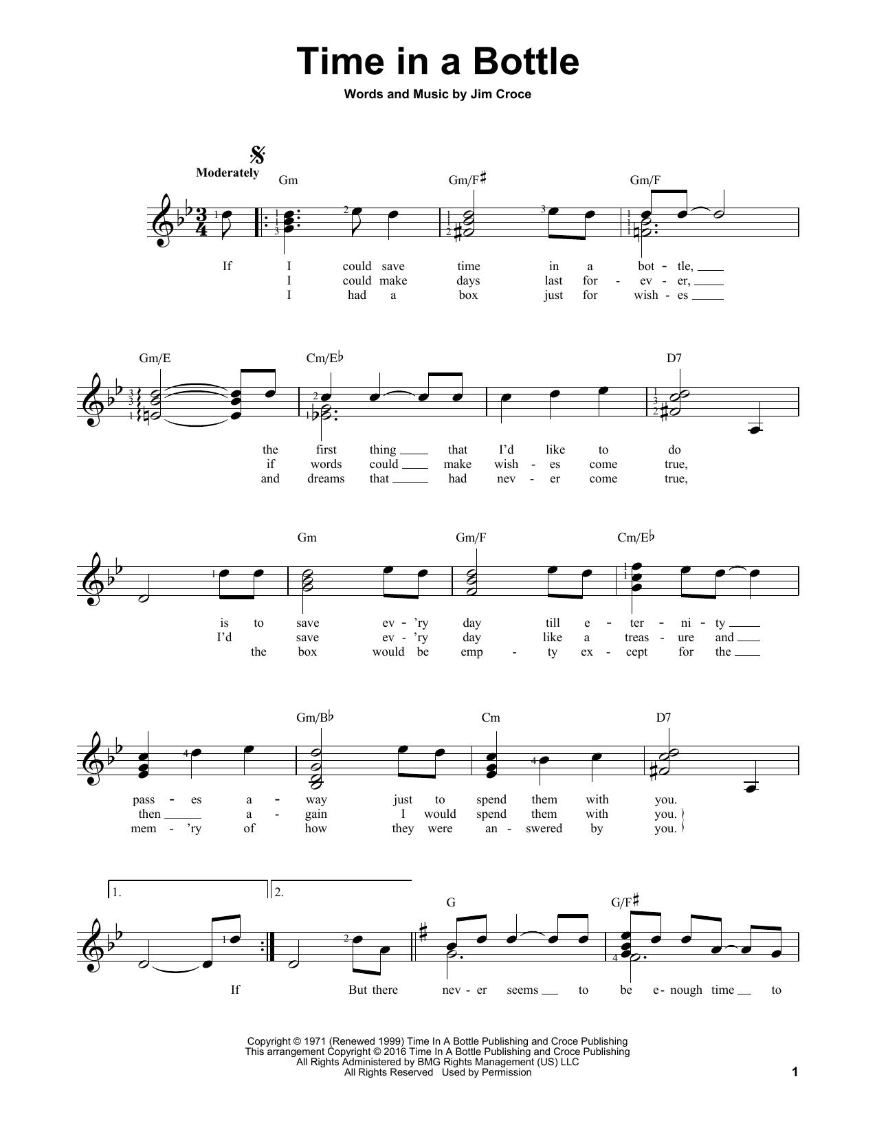 Partition autre Time In A Bottle de Jim Croce - Tablature guitare facile
