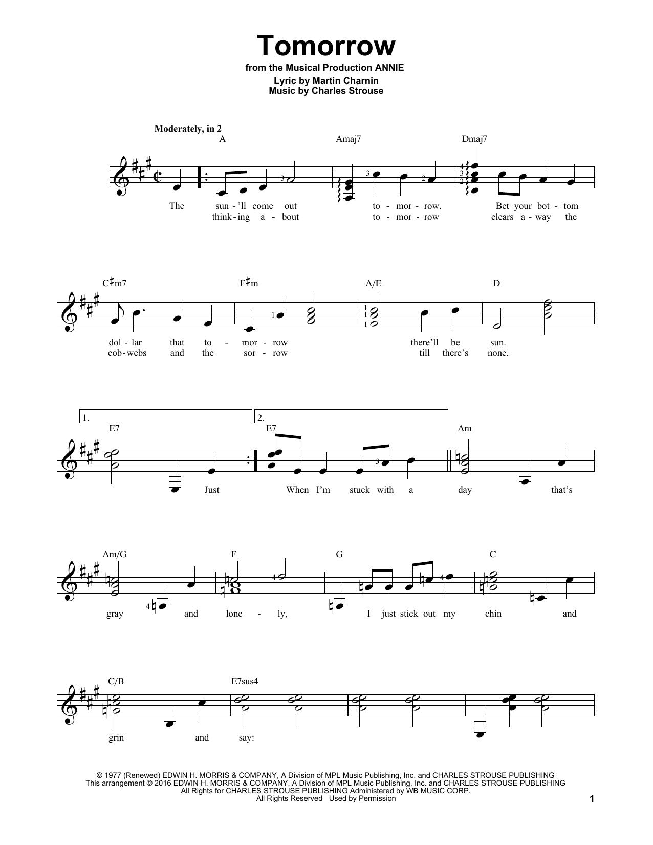 Partition autre Tomorrow de Charles Strouse - Tablature guitare facile