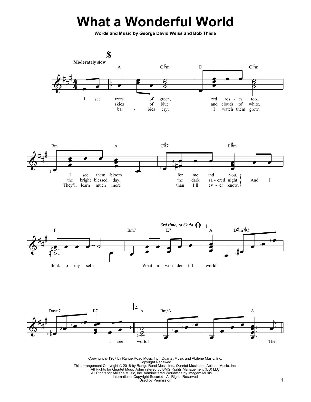 Partition autre What A Wonderful World de Louis Armstrong - Tablature guitare facile
