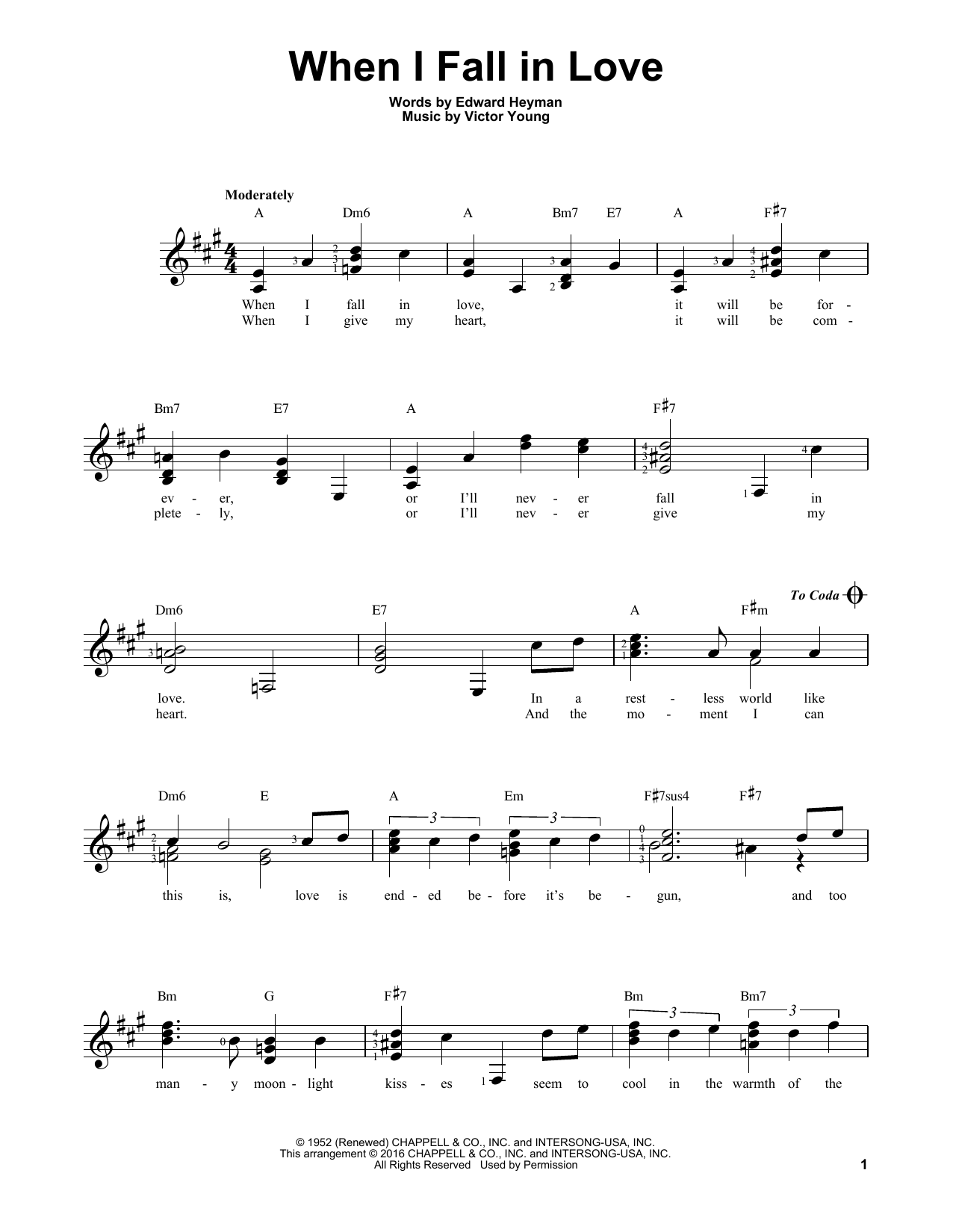 Partition autre When I Fall In Love de The Lettermen - Tablature guitare facile