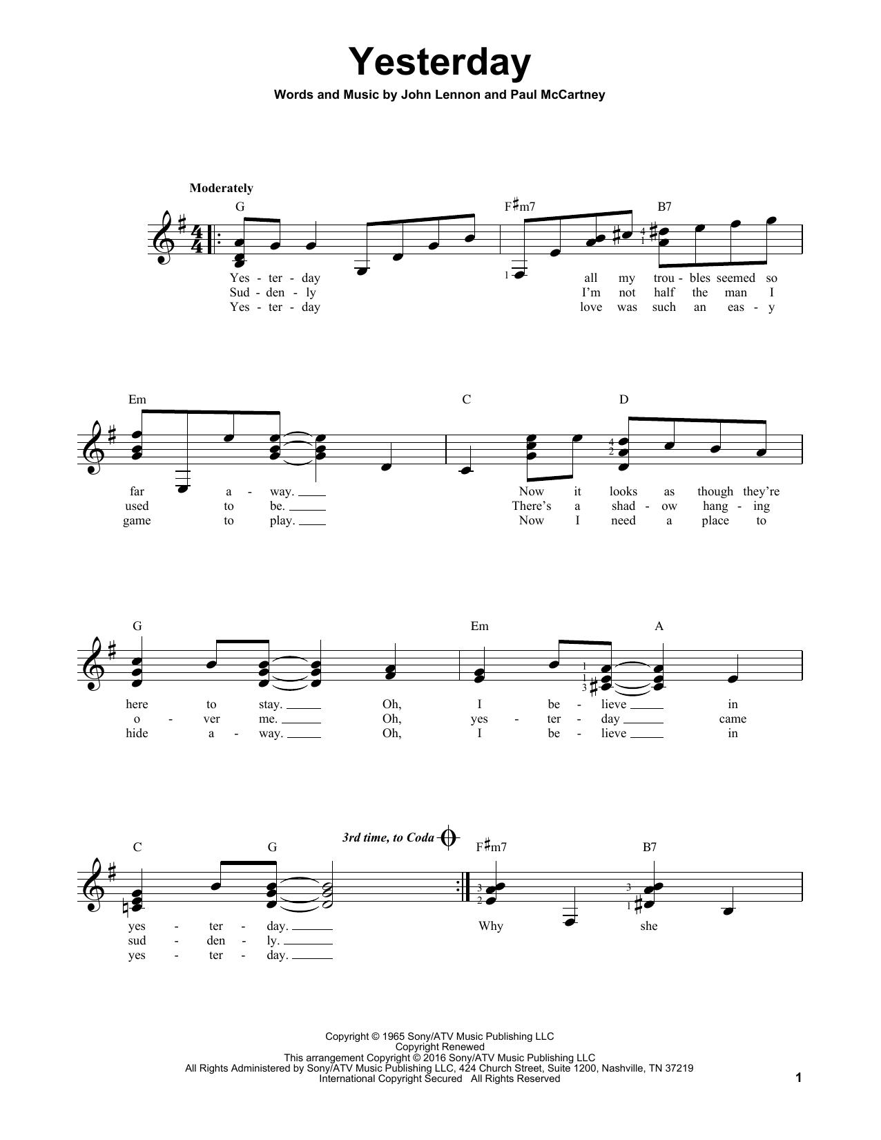 Partition autre Yesterday de The Beatles - Tablature guitare facile