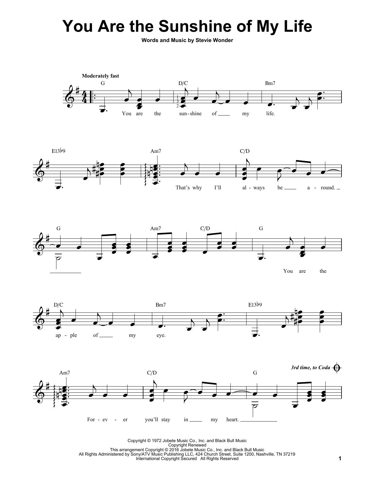 Partition autre You Are The Sunshine Of My Life de Stevie Wonder - Tablature guitare facile